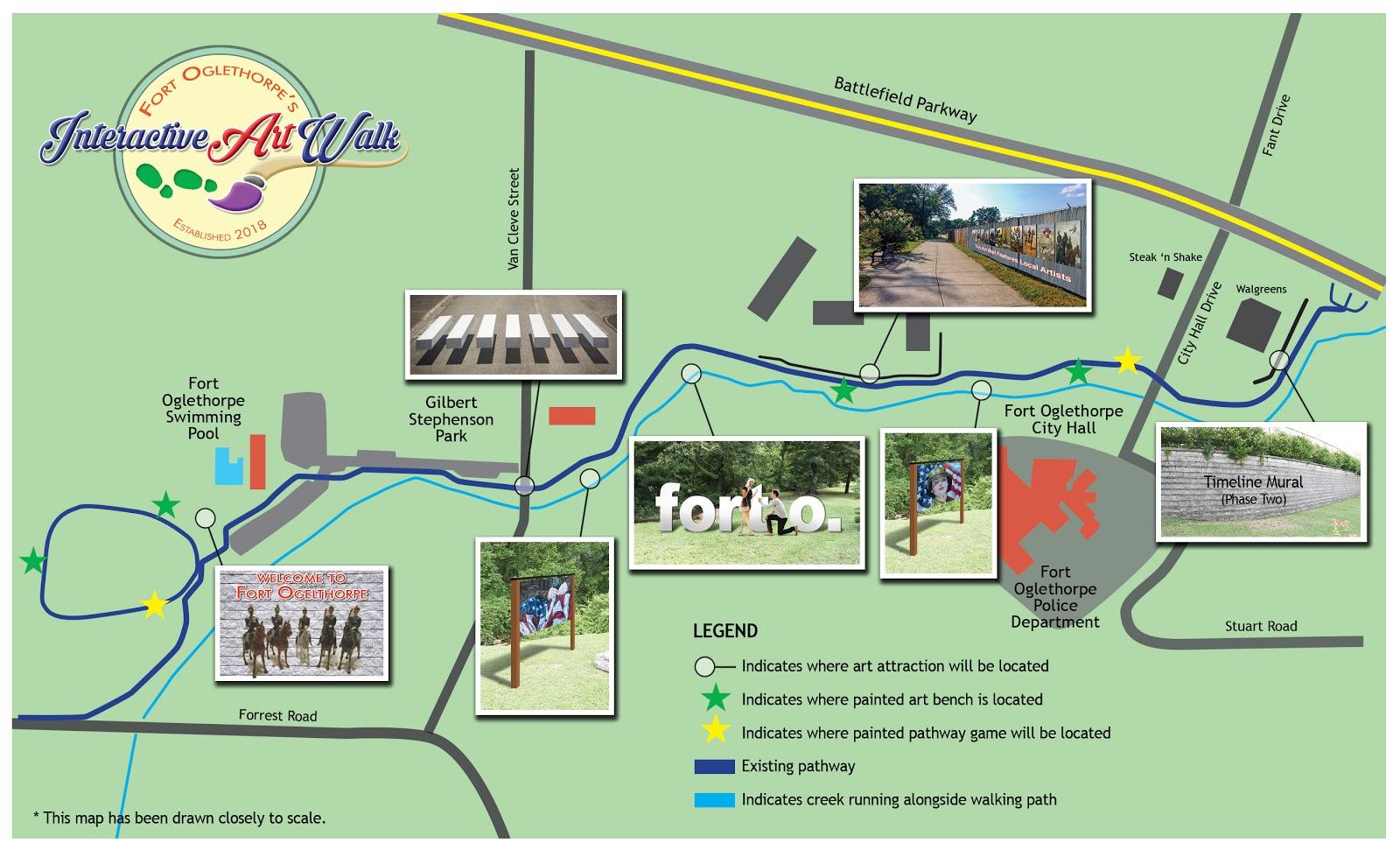 A rendering of Fort Oglethorpe's Interactive Art Walk, coming summer of 2019.