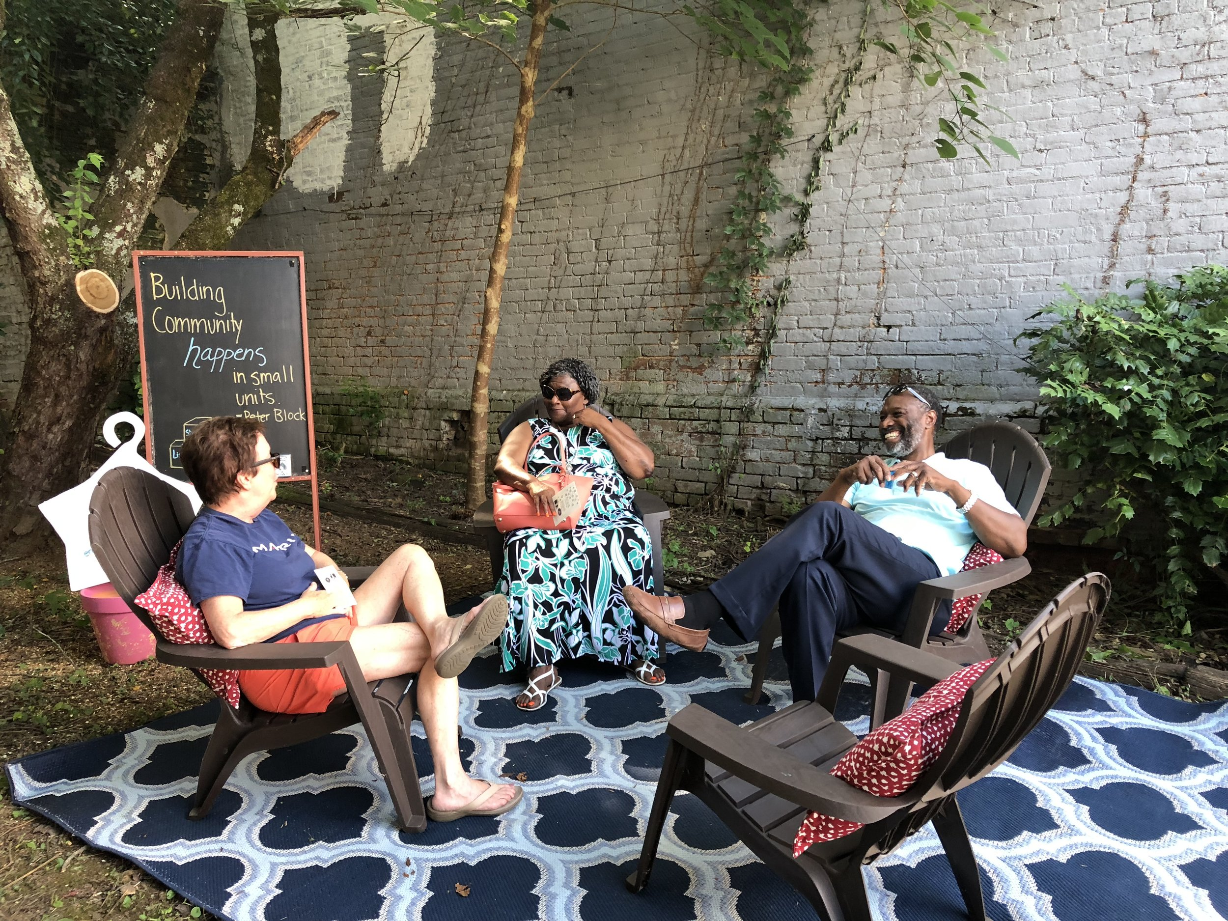 A pop-up conversation corner in Pocket Park on Jackson Street in downtown Athens.