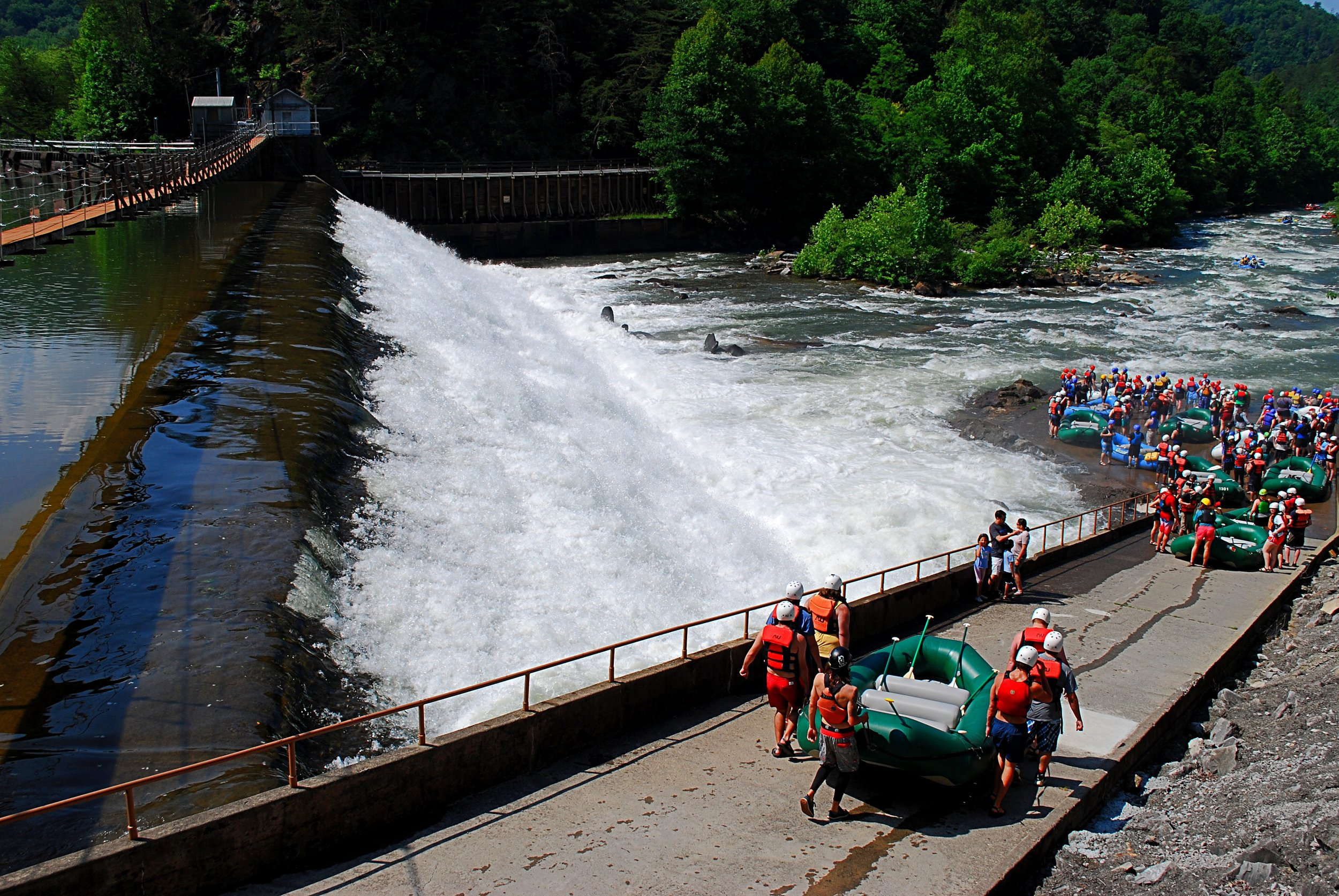 Rafters prepare to launch at Ocoee Dam #2. Photo: Bob Butters