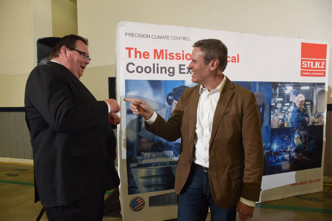 Tennessee Gov. Bill Lee, right, enjoys a moment with Rhea County Executive George Thacker following the March announcement of the Stulz HVAC manufacturing business that is coming to Dayton, Tennessee, and bringing 250 jobs. Photo by  Tim Barber  /Times Free Press.