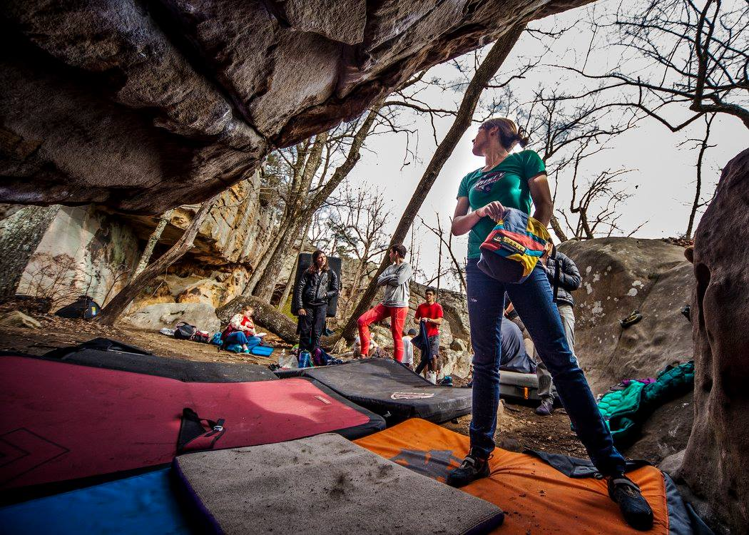 Boulderers prepare for action at Rocktown. Photo: Southeastern Climbers Coalition