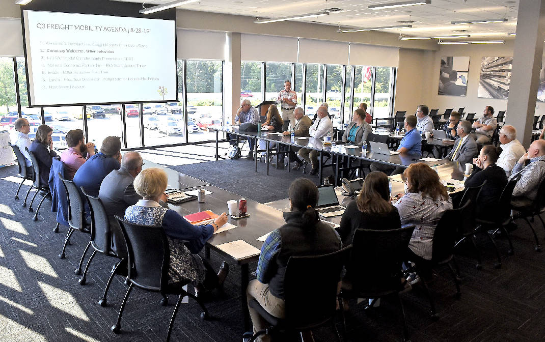 Thrive Regional Partnership held a transportation meeting at Miller Industries, in Ooltewah, as part of federally funded study of freight traffic in region on August 28, 2019. Photo by  Robin Rudd  /Times Free Press.