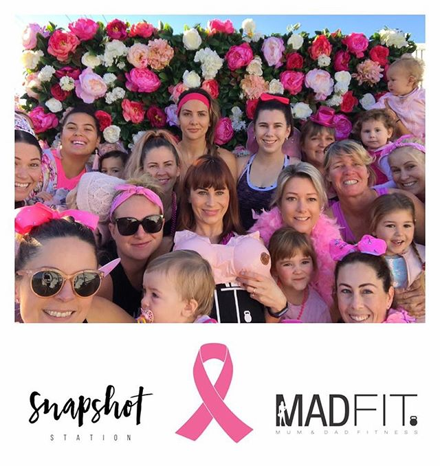 These incredible woman and their beautiful babes dressing up and working out for such an important cause! Thanks for having our photo station and wall at your Breast Cancer fundraiser workout @madfit.co.nz 💖💪🏼