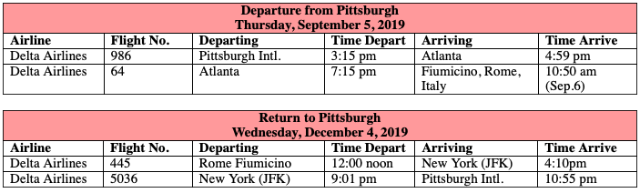 Total Roundtrip Group Airfare Pittsburgh–Rome:   Pay by Check: USD $1,290.26 | Pay by Credit Card: USD$1,341.88