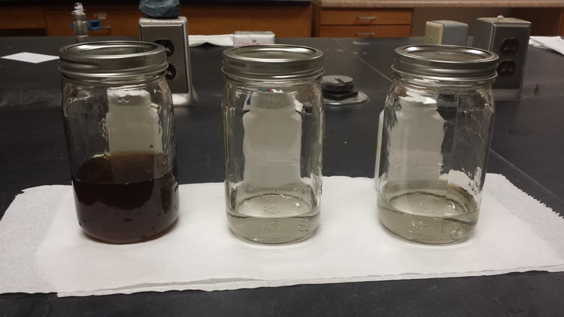 Landfill waste, also called leachate, (L) and cleaned water with contamination below EPA limits (center and right).