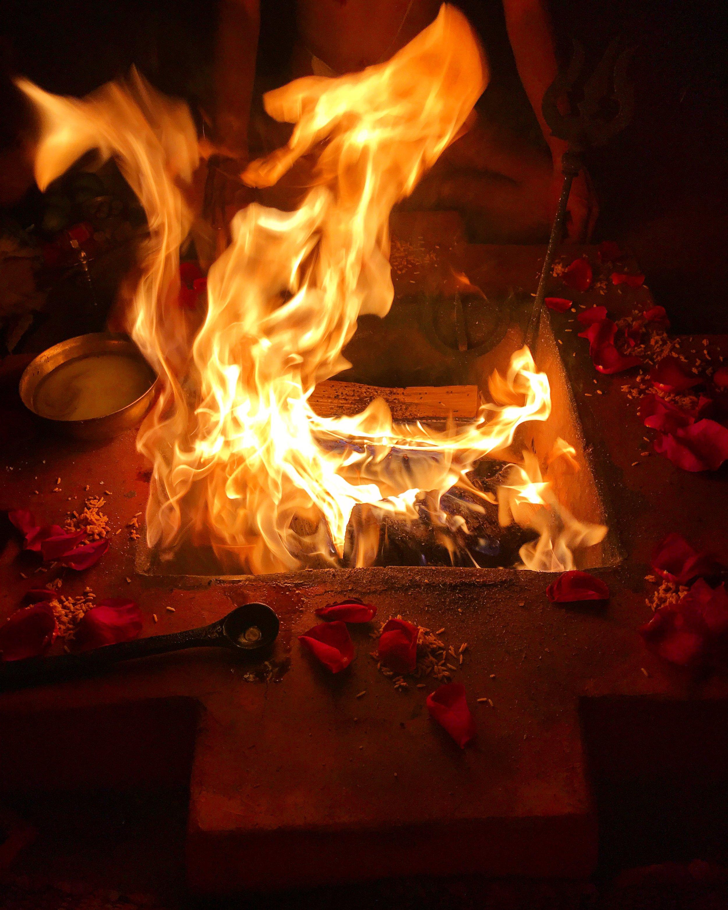 The sacred fire honoring Goddess Kamala blazes in the dhuni on the final night of Gupta Navaratri at Kali Mandir Ramakrishna Ashram.