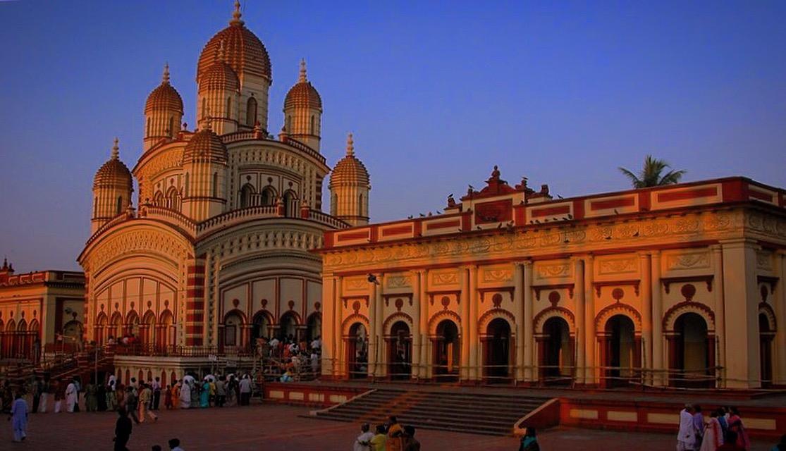 The Dakshineswar Kali Temple at evening.