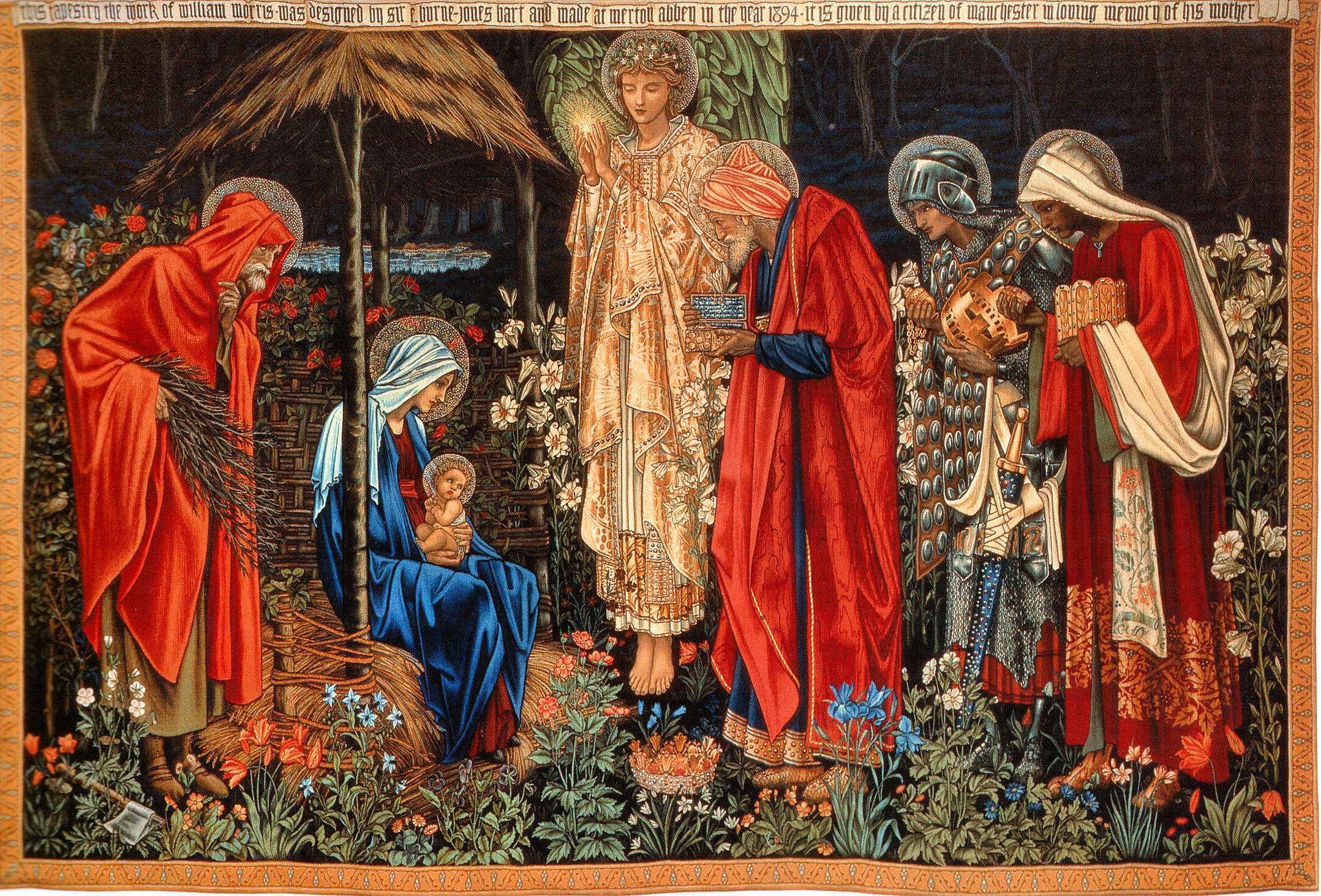 """""""The Adoration of the Magic"""" Tapestry designed by Edward Burned Jones, details by William Morris & John Henry Dearle. Woven in 1894."""
