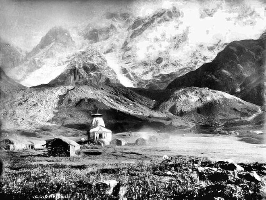 Kedarnath temple, photographed in 1882 by the Geological Survey of India.