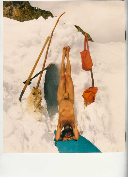Swami Paramananda Saraswati outside his cave in the Rocky Mountains of Colorado