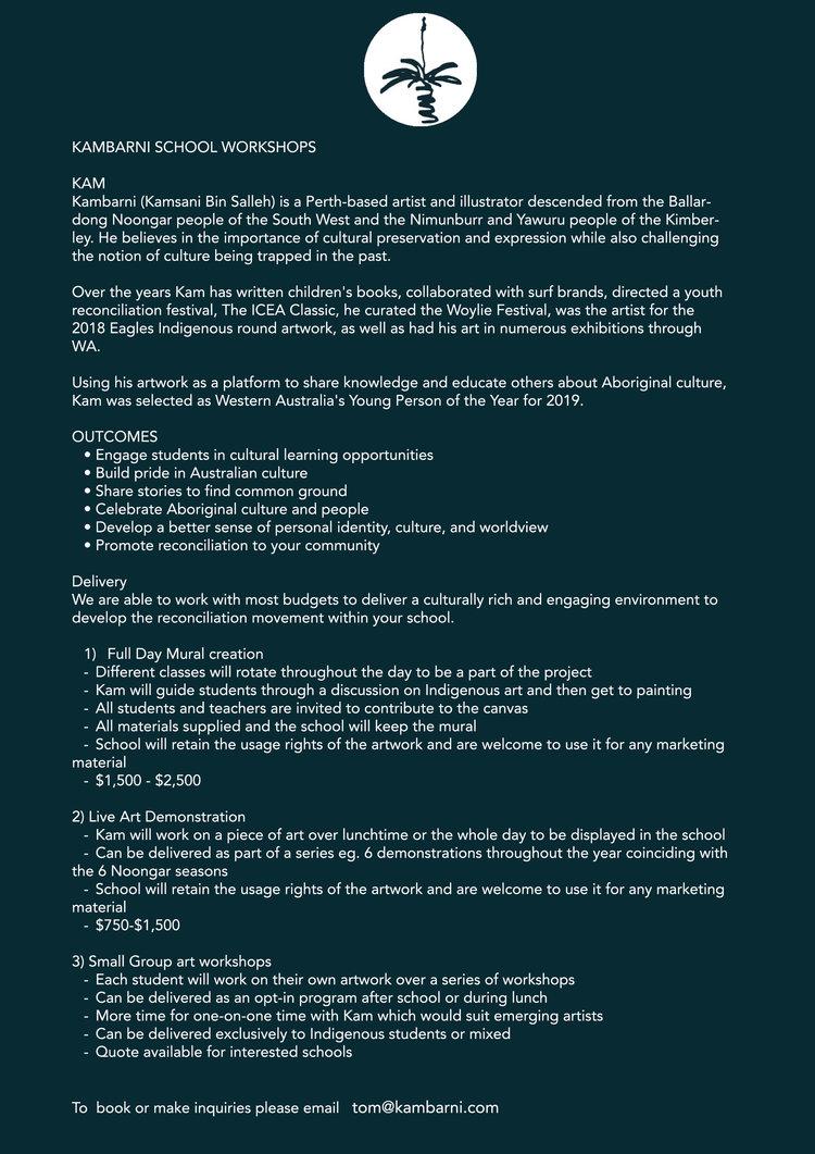 workshop info — kambarni