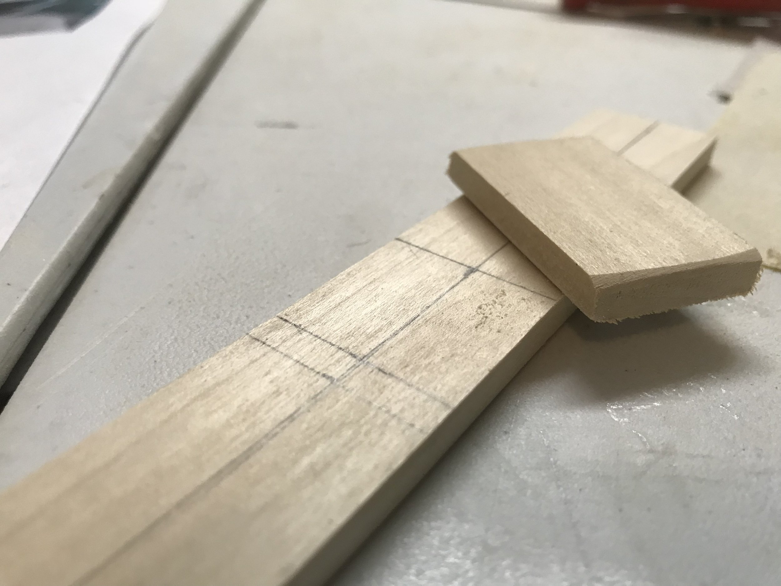 Finding the center and making the raised portion of the dash.