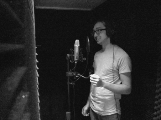 In the vocal booth.