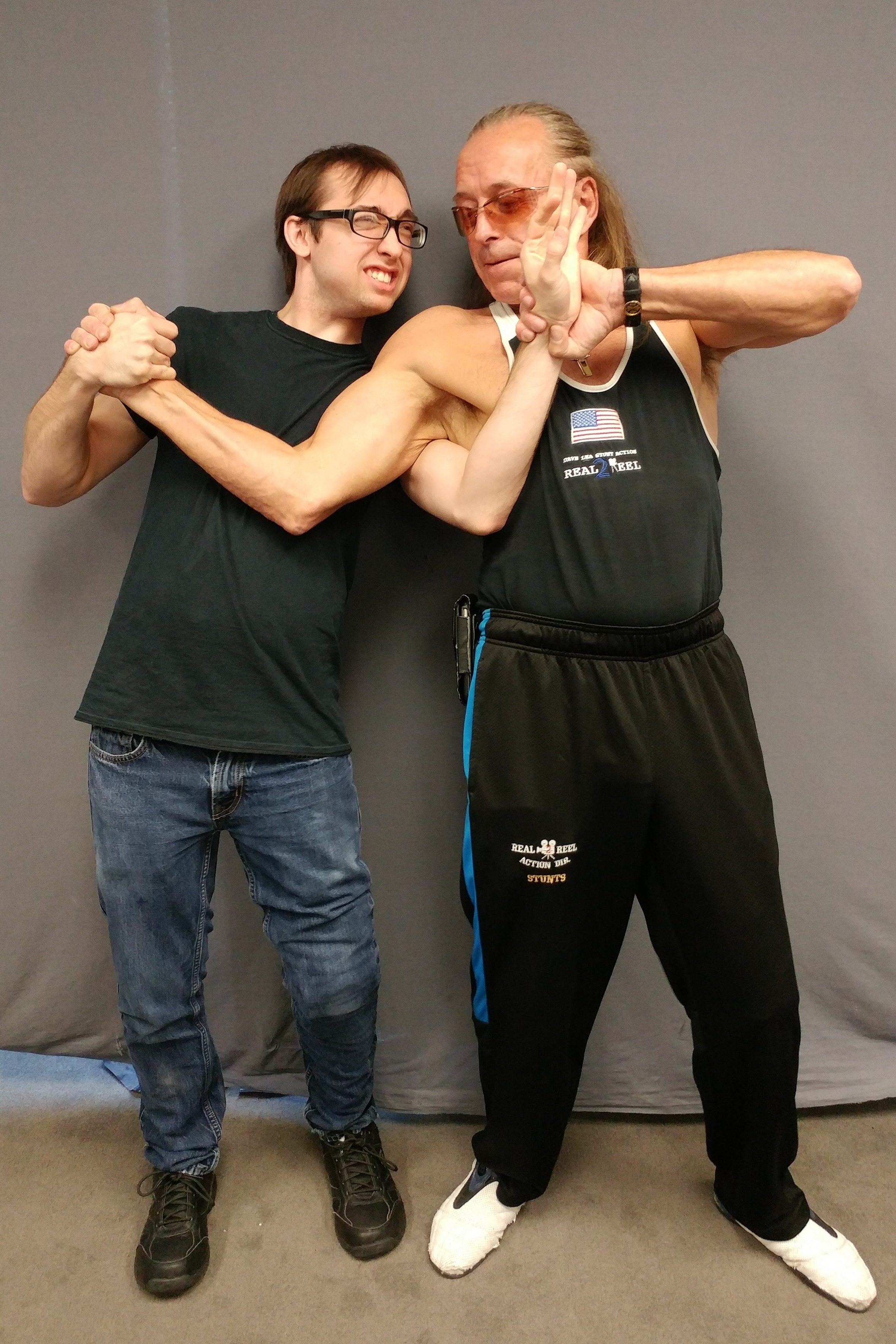 A photo with the stunt legend Dave Lea after attending his basic motion picture fight class.