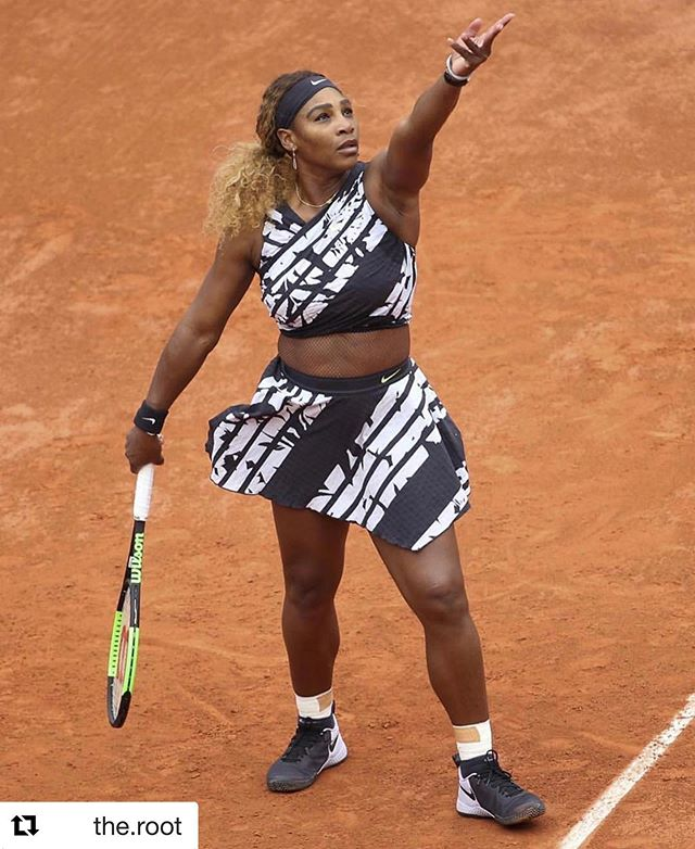 All hail the queen. 💪🏾💪🏾💪🏾👑👑👑 • • • #Repost @the.root: Last year the French Open Champion tried to hold Serena Williams back by banning her catsuit.  This year our good sis showed up in an outfit with the French words for: - Queen - Mother - Goddess - Champion  #BlackExcellence #BlackGirlMagic