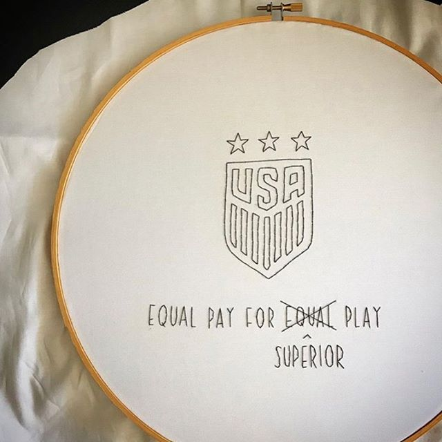 """Thanks @badasscrossstitch for summing it up so well. """"...I am totally enamored and in awe of the USA Women's Soccer Team @uswnt Not only for their fucking amazing playing but for their brave moves that will no-doubt have a profound impact on all women's sports."""" 🌟💪🏽💪🏽💖⚽️⚽️⚽️💖💪🏽💪🏽🌟 #Repost #fifaworldcup #womensworldcup #feminism #feminist #ussoccer #uswnt • • • You probably know that the FIFA Women's World Cup is happening right now in France. I'm not really a sportsball person BUT I am totally enamored and in awe of the USA Women's Soccer Team @uswnt Not only for their fucking amazing playing but for their brave moves that will no-doubt have a profound impact on all women's sports.  In March, the team filed a lawsuit against US Soccer @ussoccer for gender discrimination. The discrimination coming in the form of pay inequity, how they train, medical treatment, coaching, and travel.  These female athletes are being paid less than the men's team, in some cases earning just 38% of pay per game. The women's team has generated MORE profits and revenue, larger audiences, and played more games than the men's team.  According to the lawsuit, from 2013 through 2016, women's national –team players could earn a maximum of $4,950 per """"friendly,"""" or non-tournament, game that they won, while men's national-team players earned an average of $13,166 for the same thing. (The Atlantic) They are now defending their World Cup Title and I will be cheering them on so hard (from my couch in Chicago). They play Thailand today at 2pm cst, Chile on Sunday at 11am cst, Sweden on Thursday 6/20 at 2pm and then I'm sure they will be playing all the way to the end!  The bravery of this team makes me SO PROUD! Go Team USA! (but I sure hope everyone plays well and feels successful…I'm terribly non-competitive =/)"""