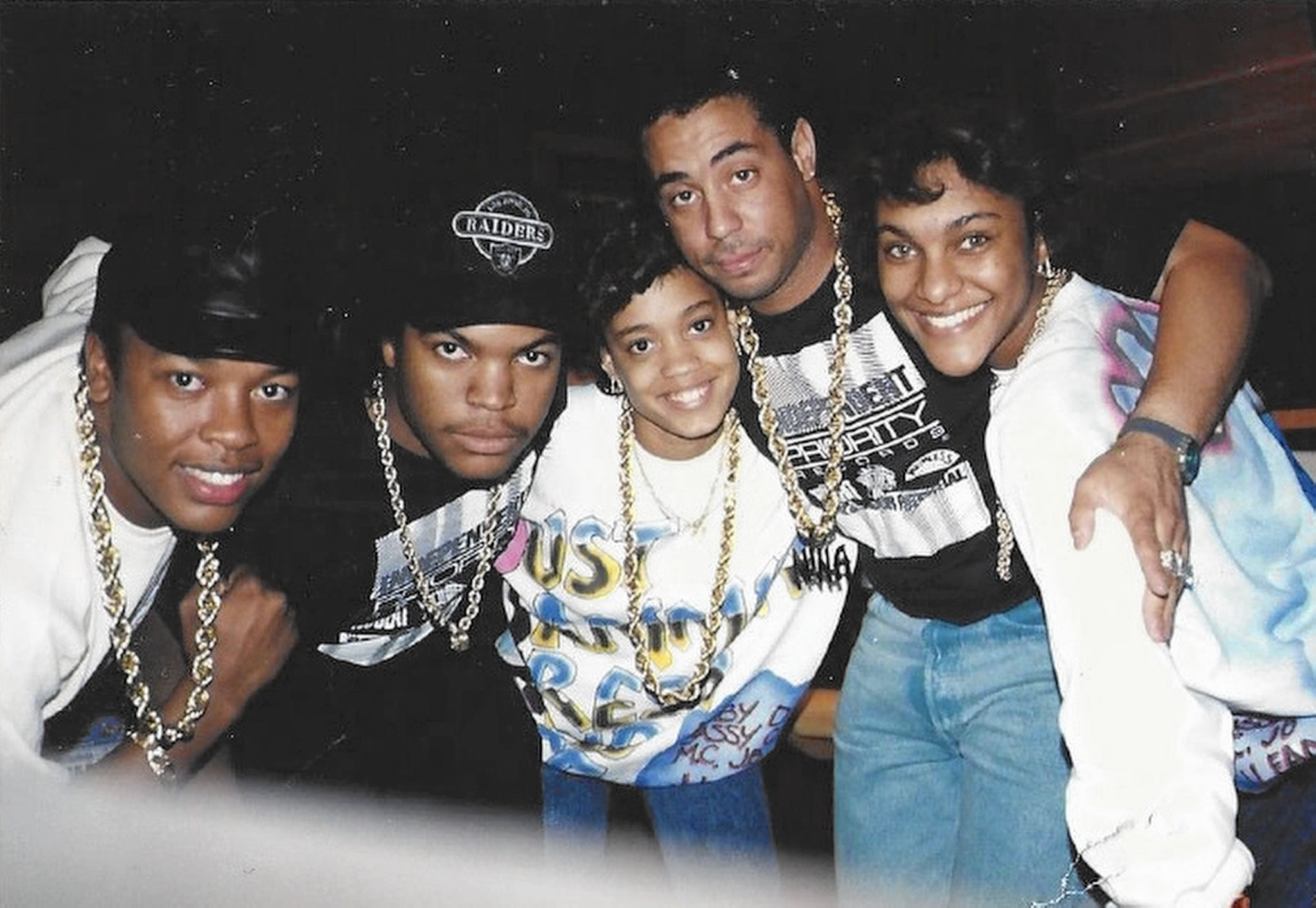 L to R: Dr. Dre, Ice Cube, Dania 'Baby D' Burks, DJ Yella & Juana 'MC J.B.' Burns.