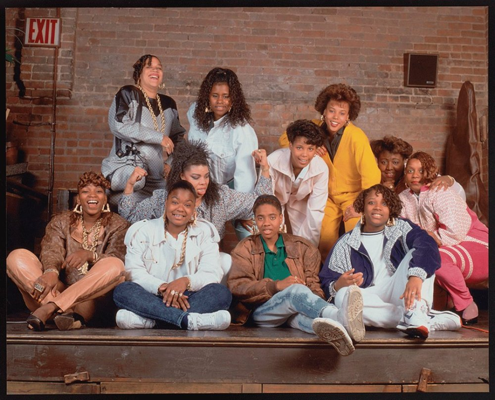 Female rappers c. 1988. Sweet Tee is standing, second from left. Photograph by  Janette Beckman.