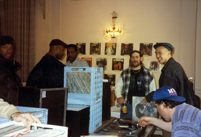 Roosevelt Hotel Record Convention: third from the left, facing the camera, is 'Breakbeat Lenny' Roberts, founder of Street Beat Records. Lenny died in 1996.