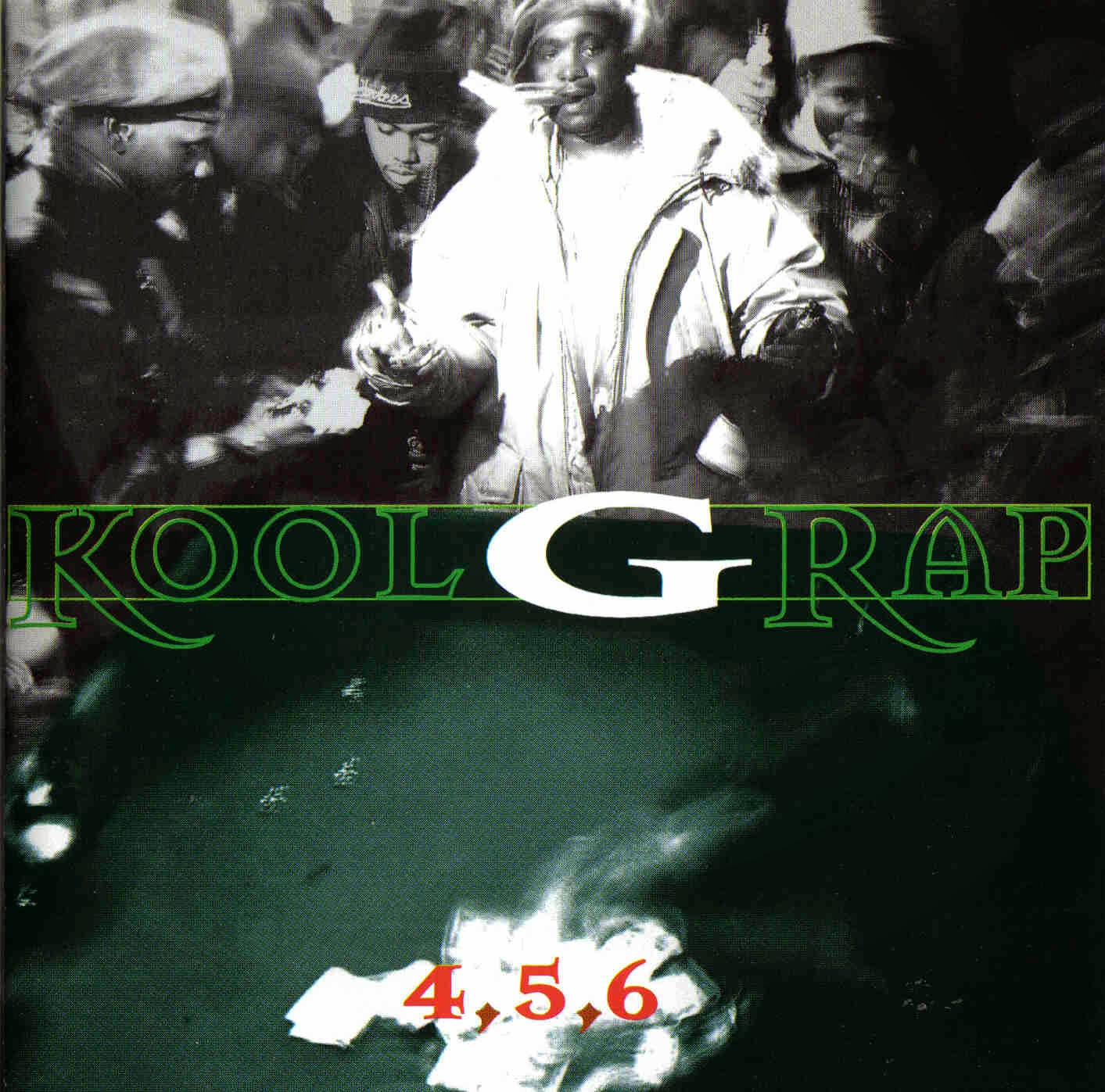 The cover of  4,5,6 . Nas stands to the left of G Rap.