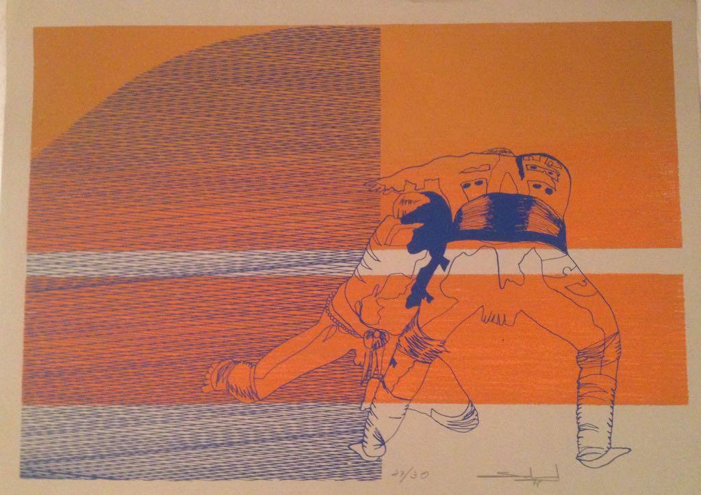 AR 1896 - Gilberto Salvador - 50 x 70 - Lutadores de Sumo Laranja - 27-30 - Gravura.jpg