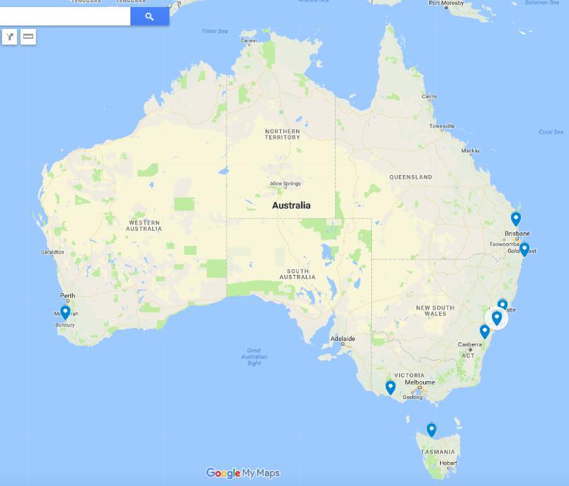 8 communities across 5 states… - Sunshine Coast QLD, Northern Rivers NSW, Warrnambool VIC, Newcastle NSW, Bunbury and South West WA, Sydney's Northern Beaches NSW, Bundanoon NSW, Cradle Coast, North West TAS.