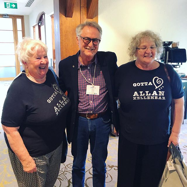 Professor Allan Kellehear meeting some fans from North West Tasmania @carebeyondcure_tas  I think he was chuffed! 😂 #phpci2019