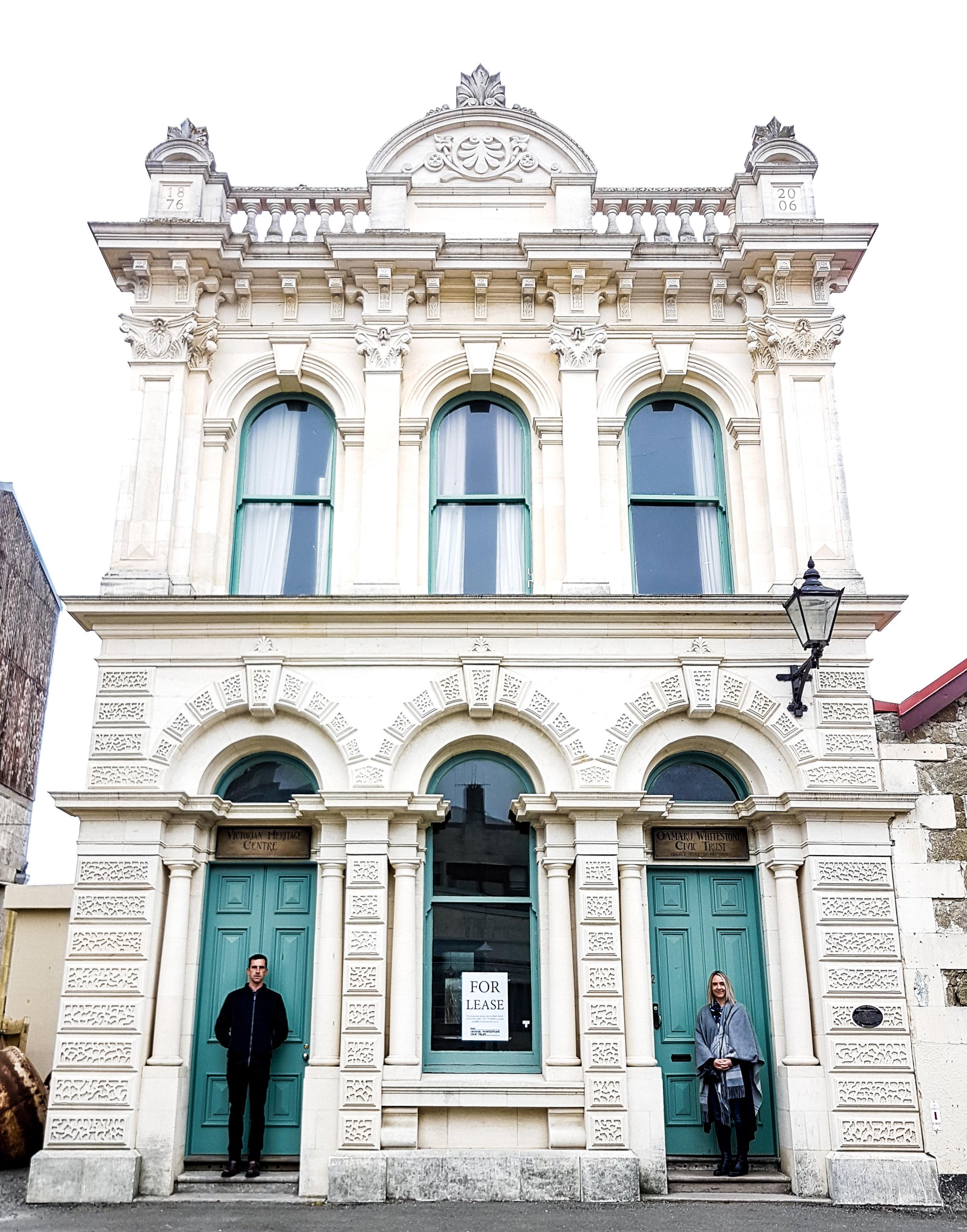 Heritage building with green doors