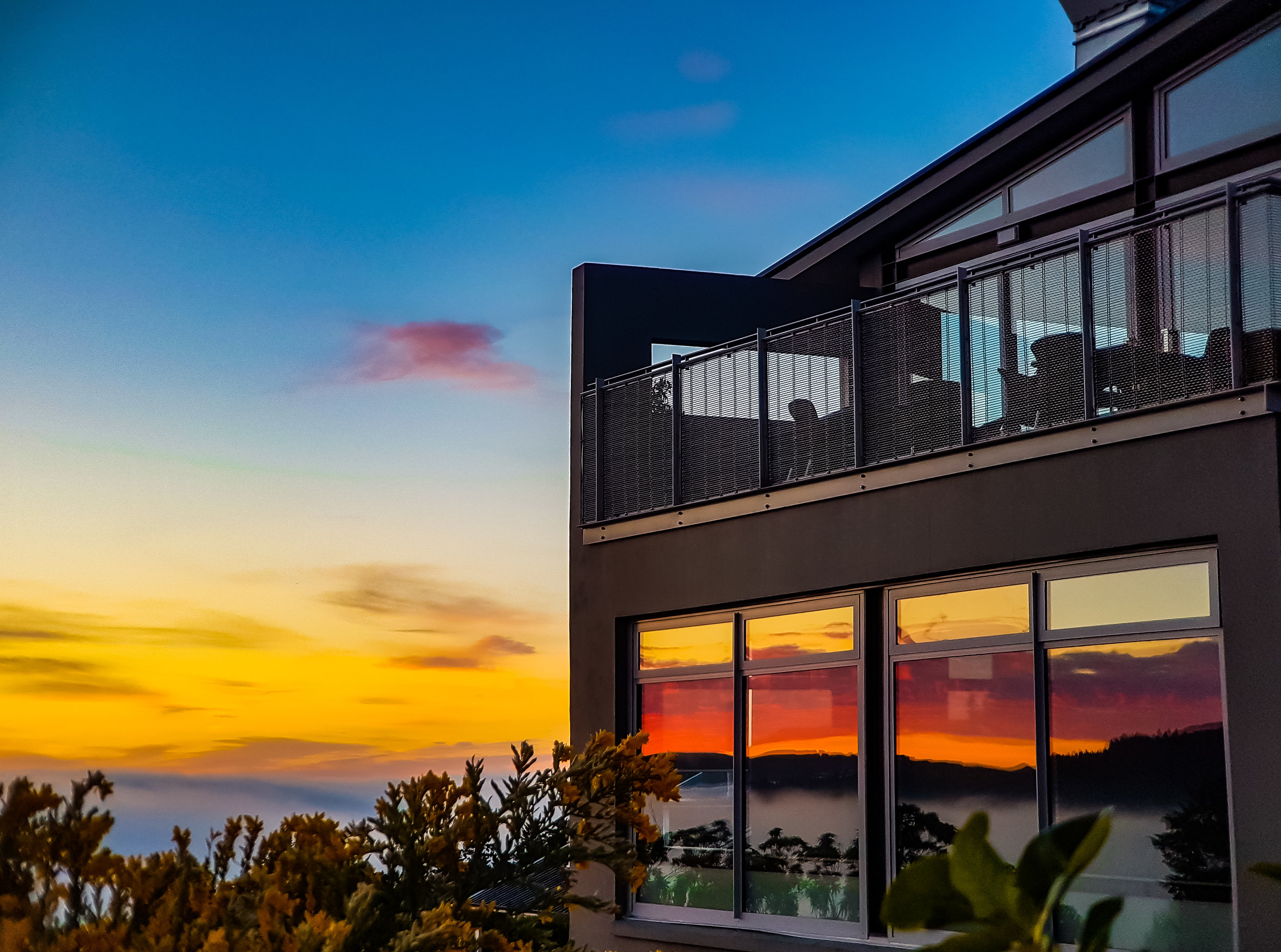 Sunrise reflection at Luna restaurant Dunedin