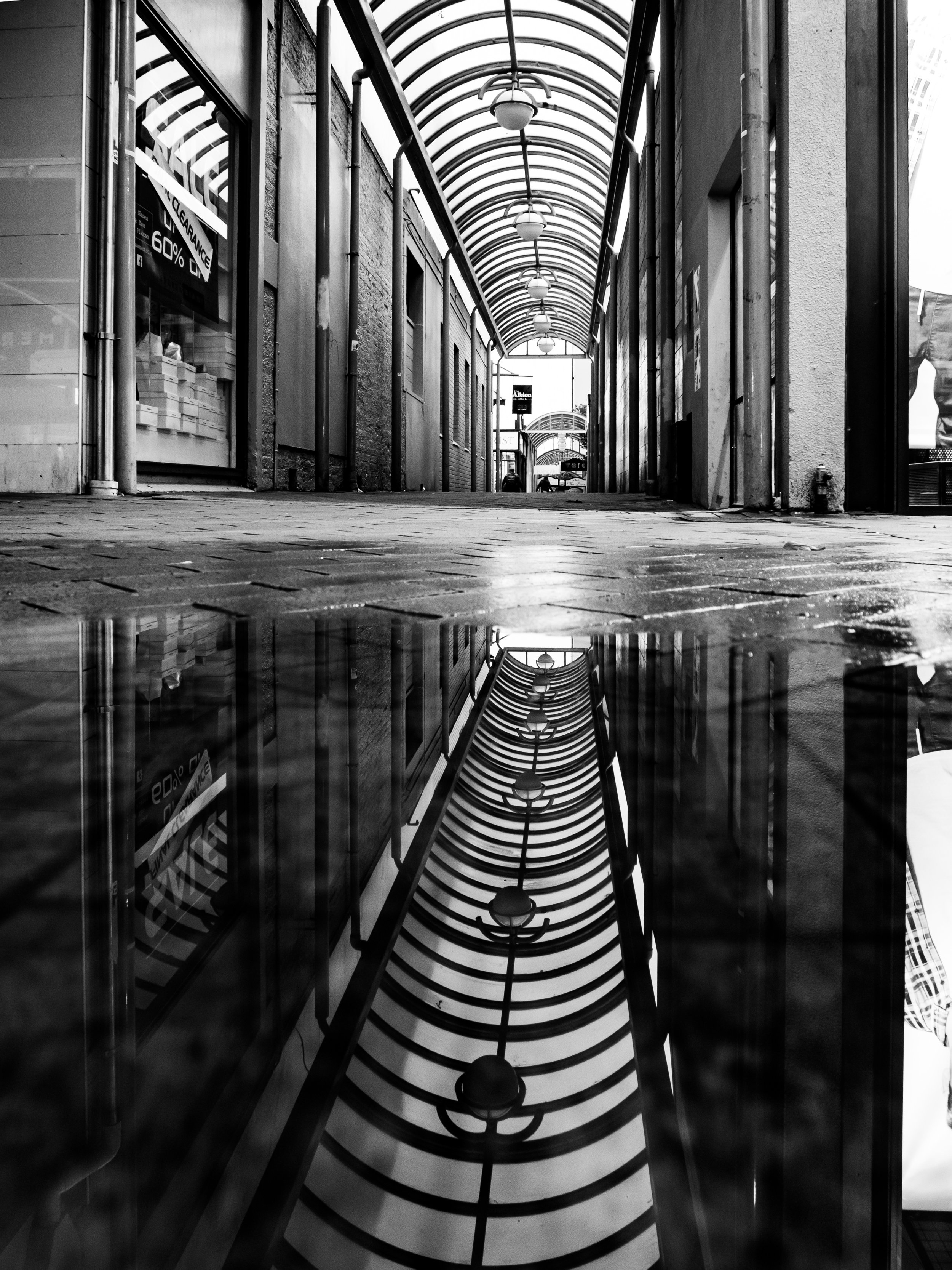 black and White reflected street scene Dunedin