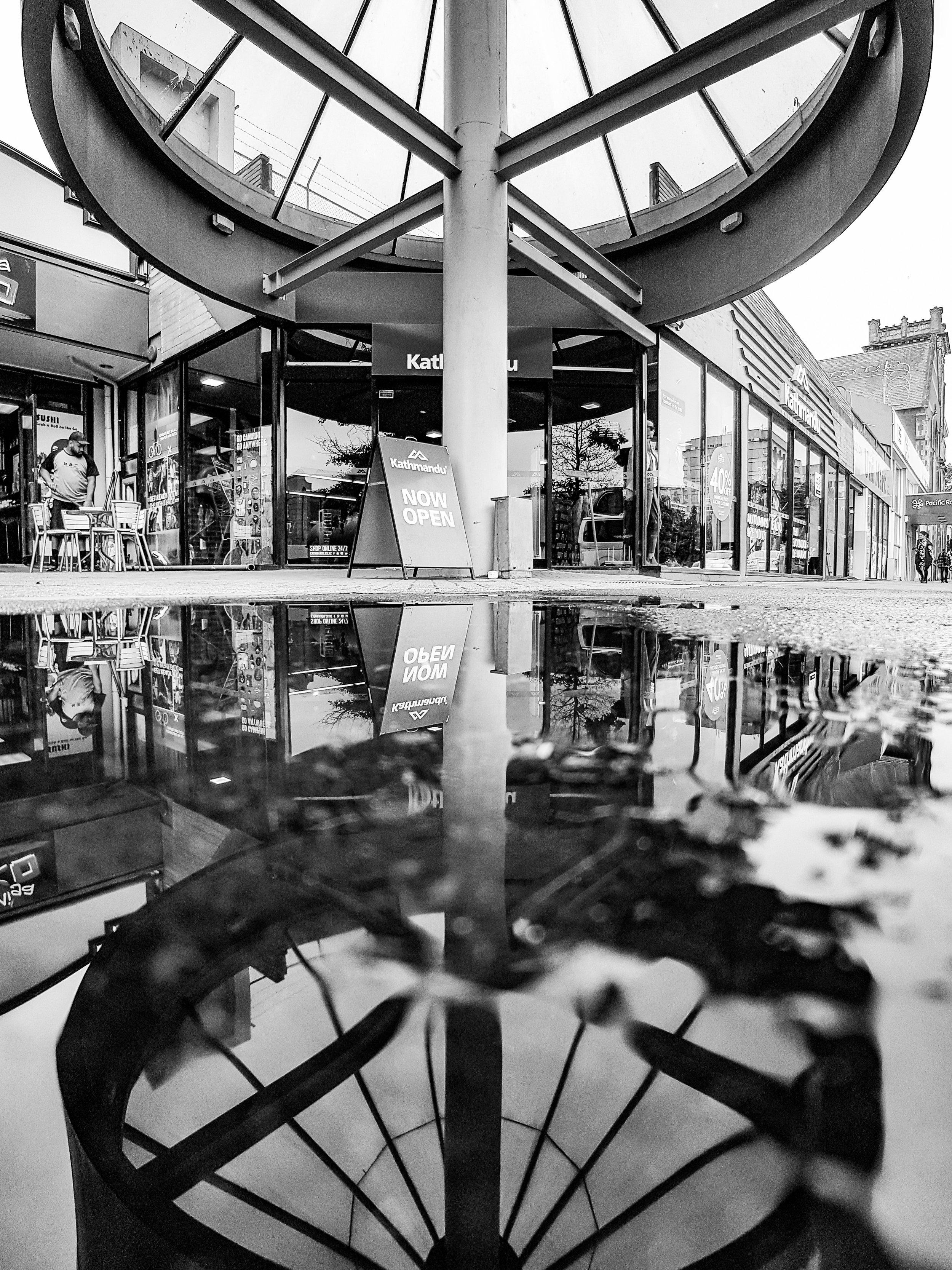 Black and white reflection Kathmandu Dunedin