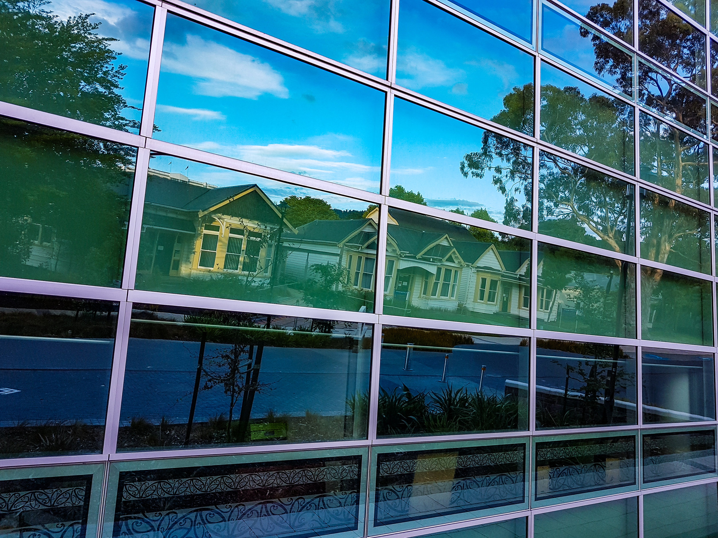 Otago University reflections in glass