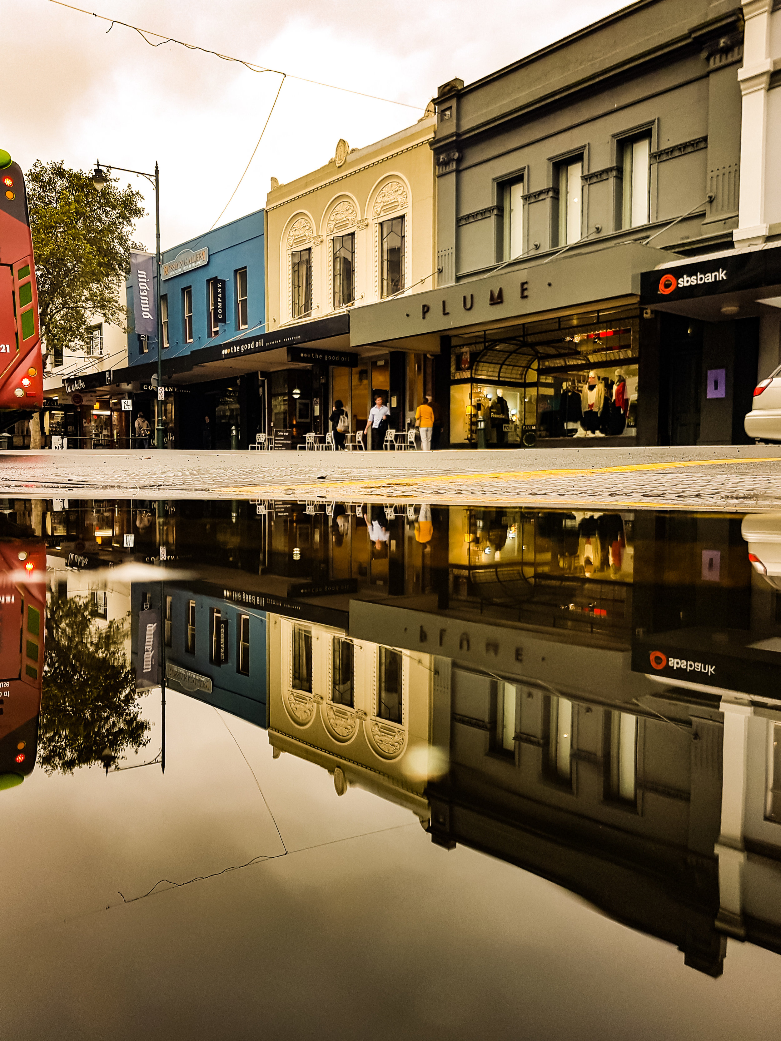 George Street Dunedin reflection of shops in water