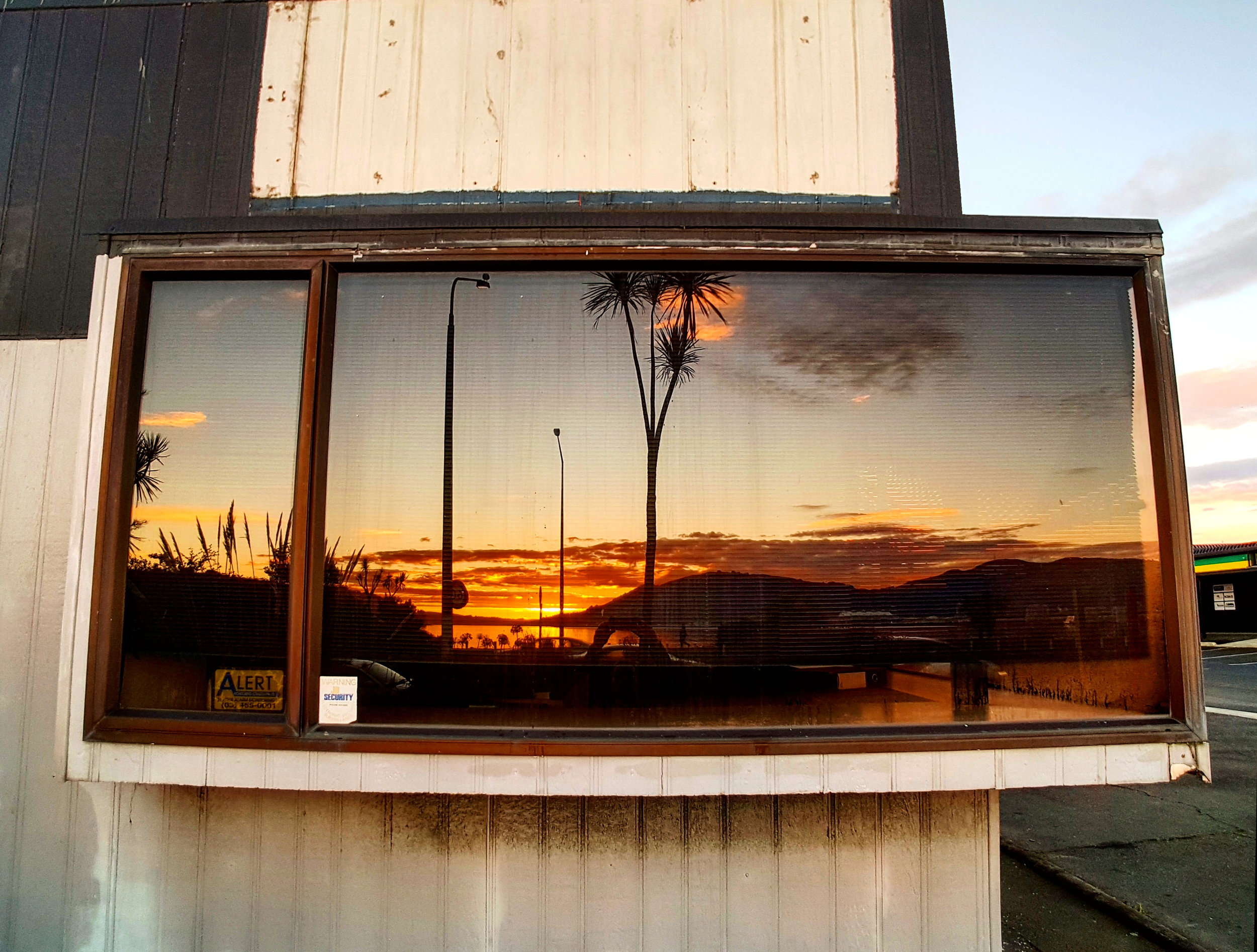 Reflection in a window Otago Harbour