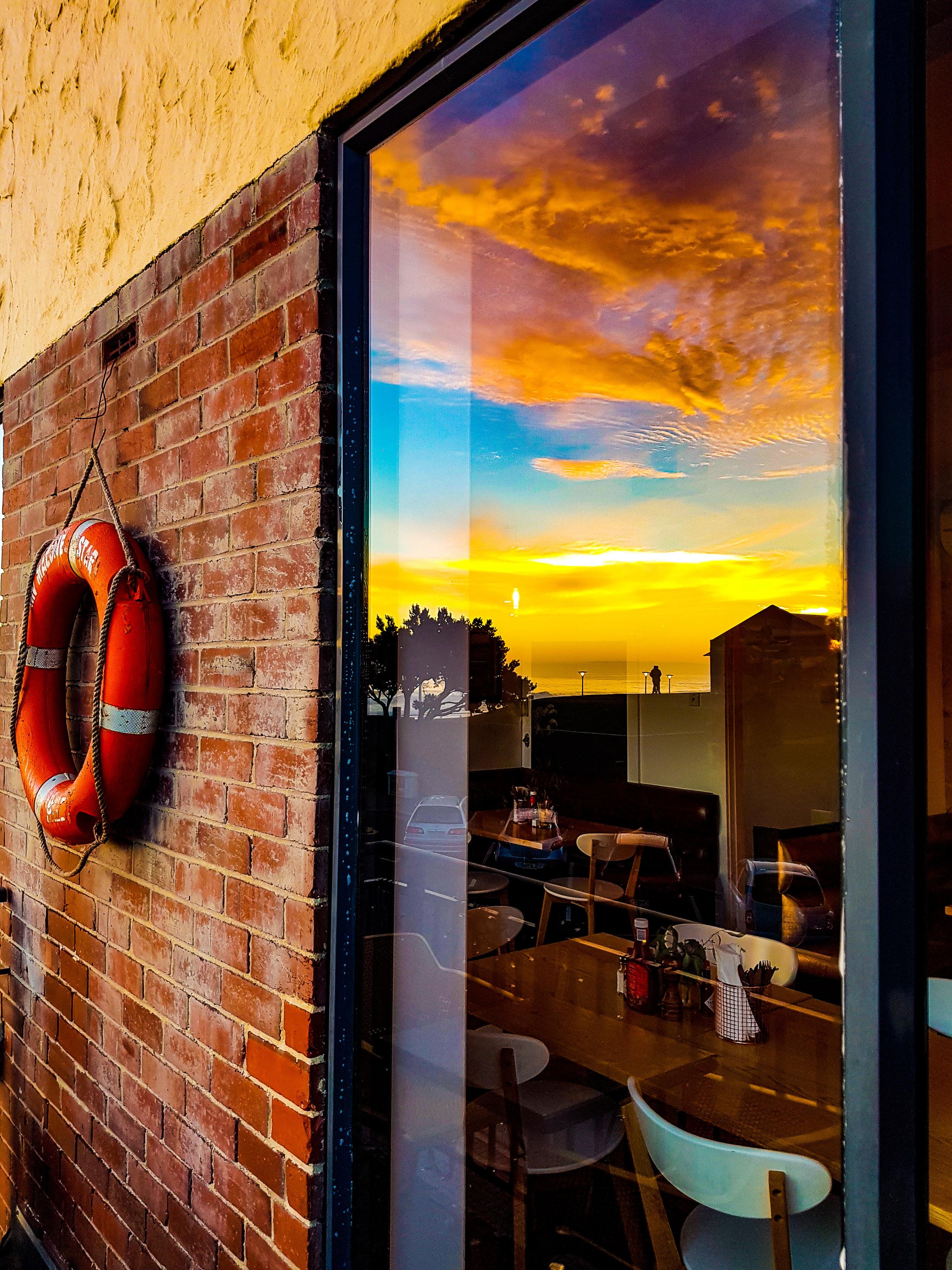 Table in the window starfish cafe Dunedin