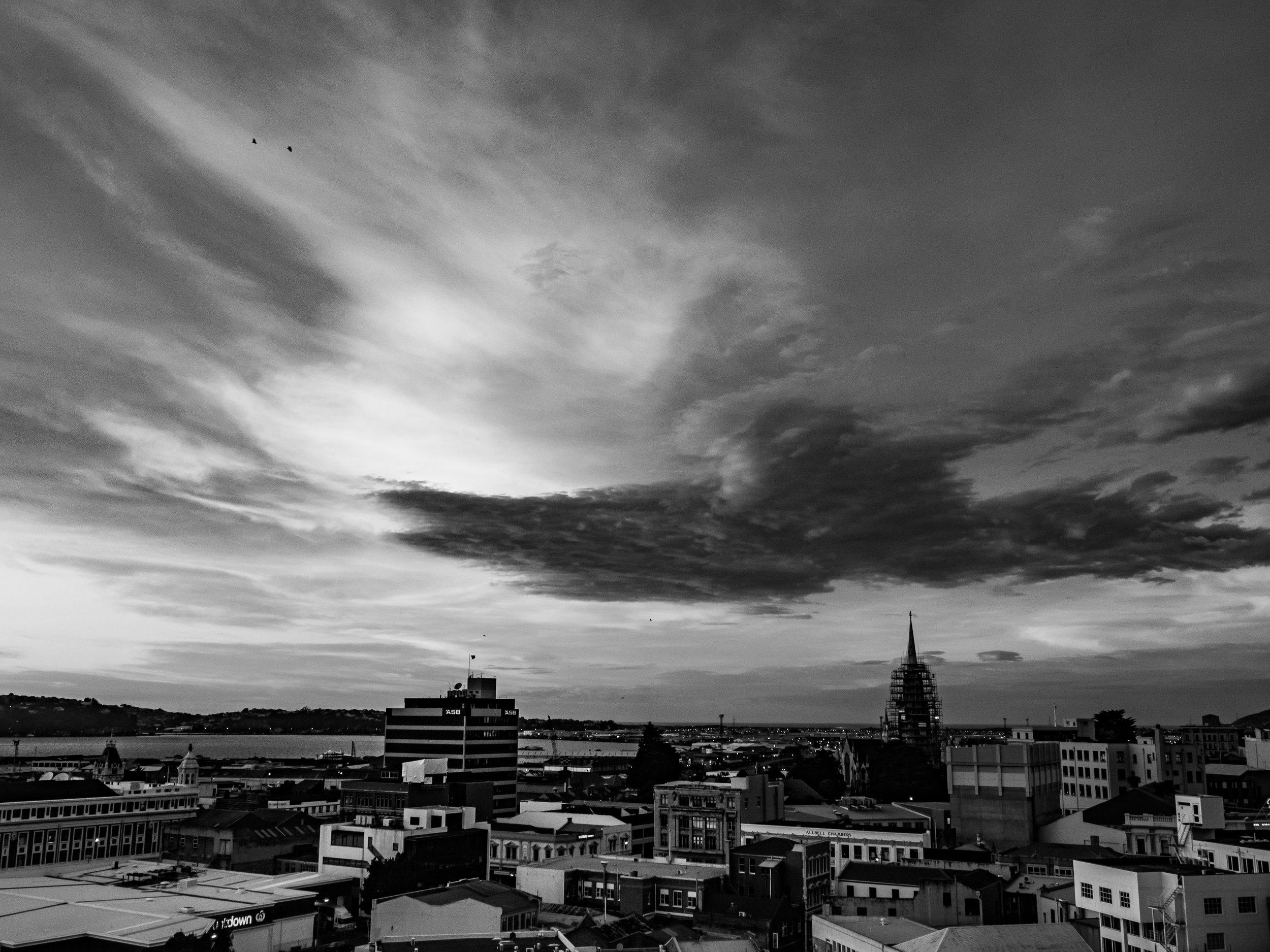 Burns House Dunedin sunrise in black and white