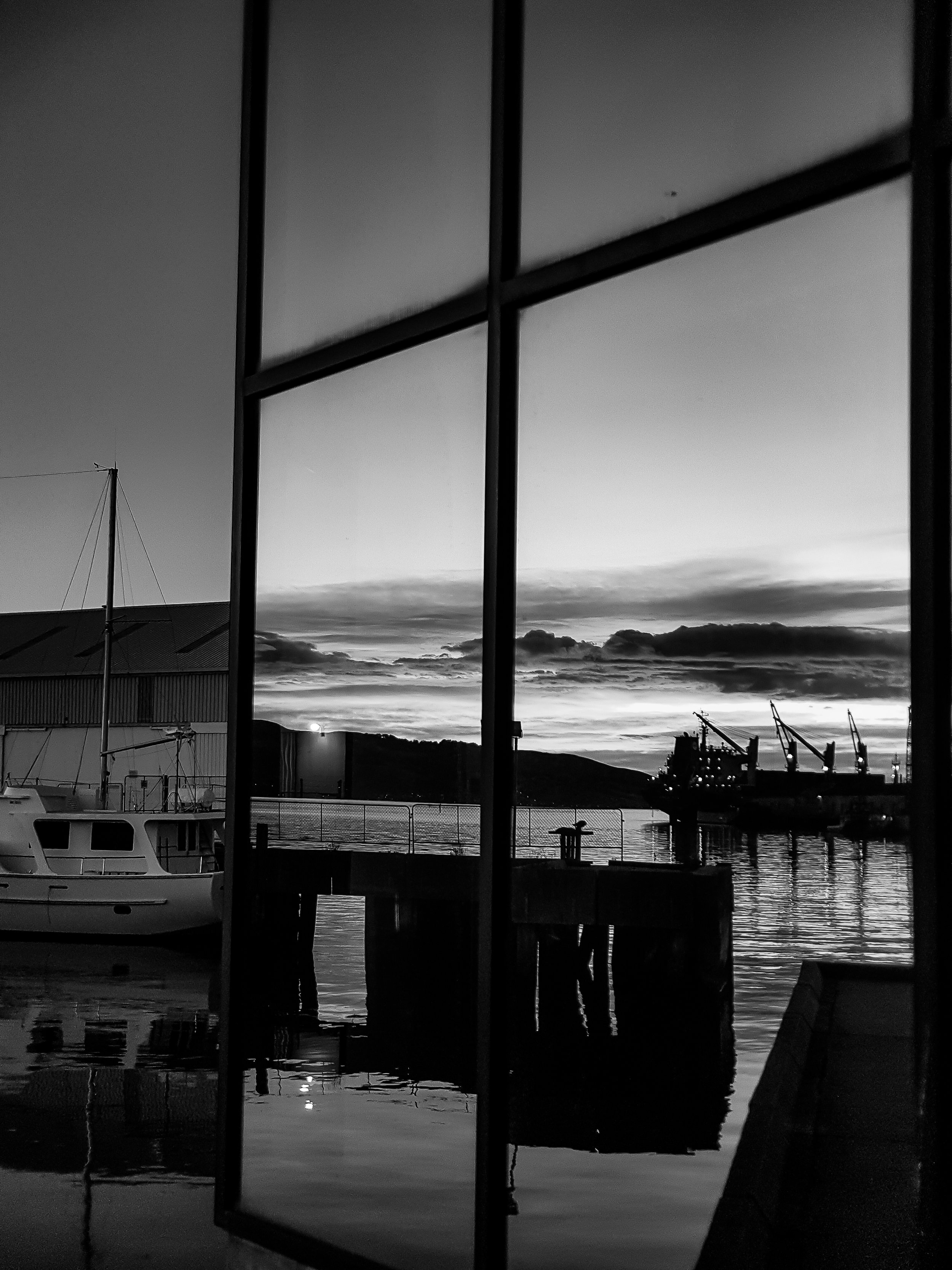 sunrise reflected in building on harbour with boat dunedin