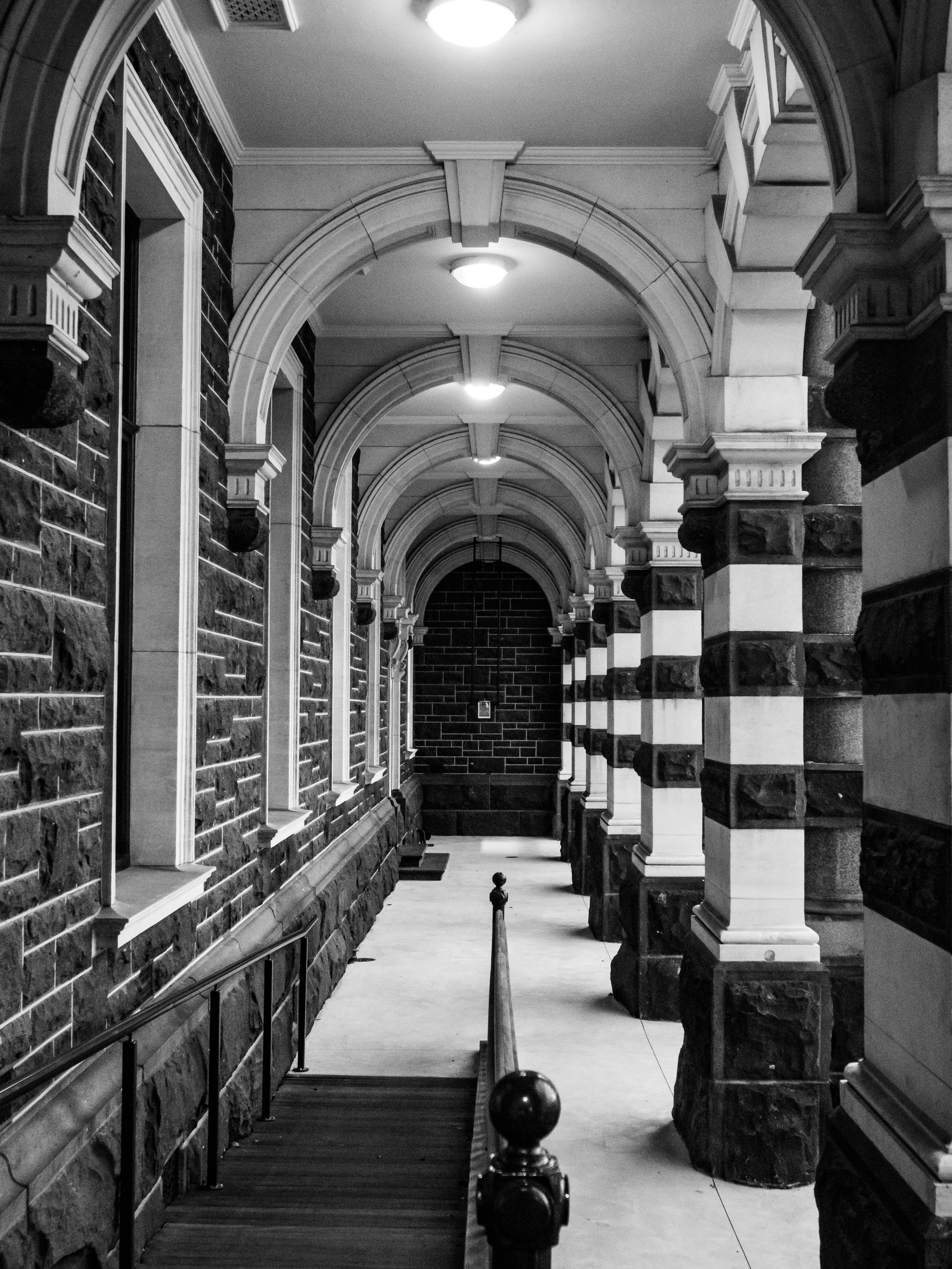 Dunedin railway station pillars in black and white