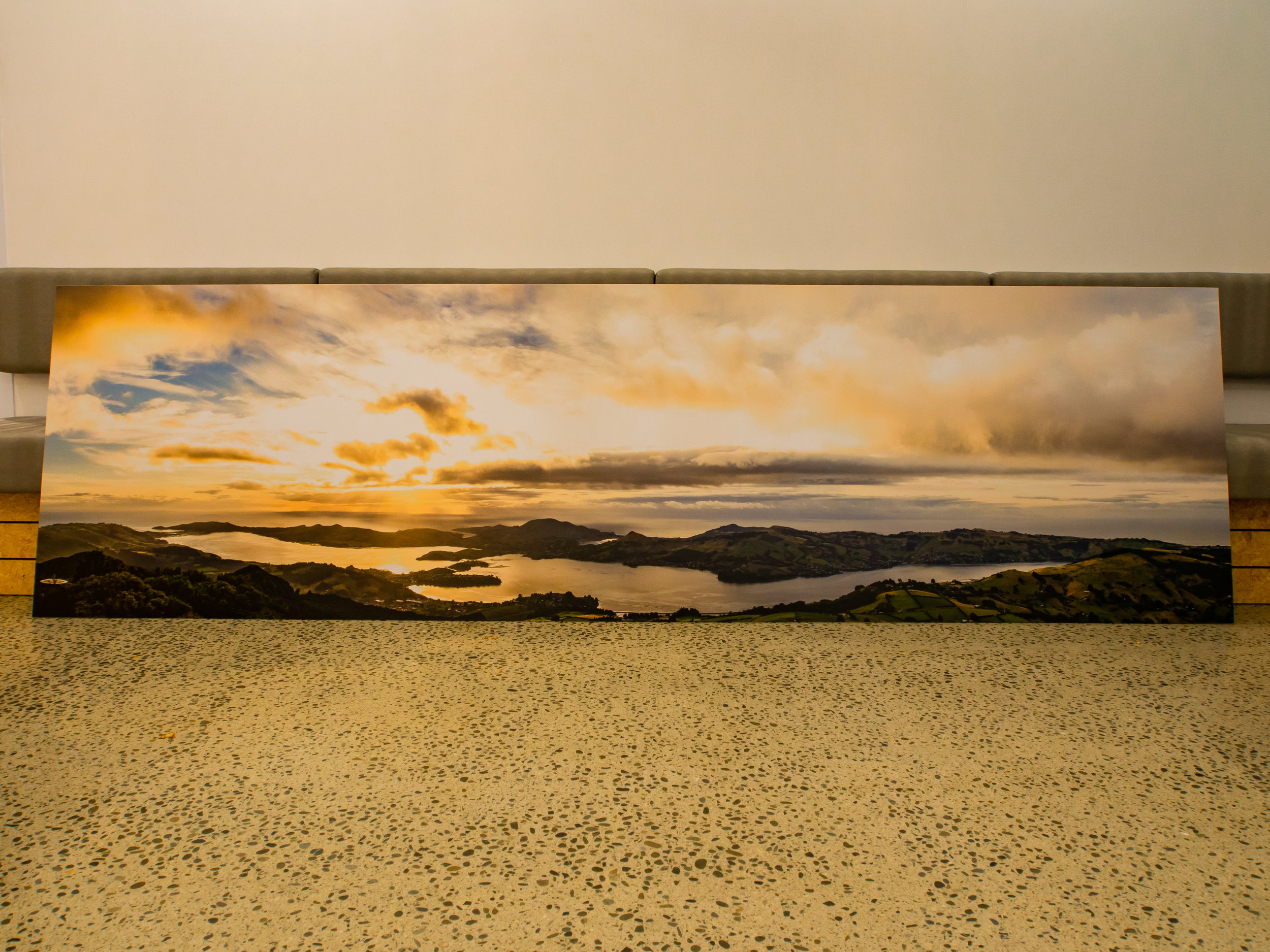 S a f e   P a s s a g e - This beautiful panorama of the Otago Harbour is called 'Safe Passage',  the combination of landscape and light creating a special piece for home or business.