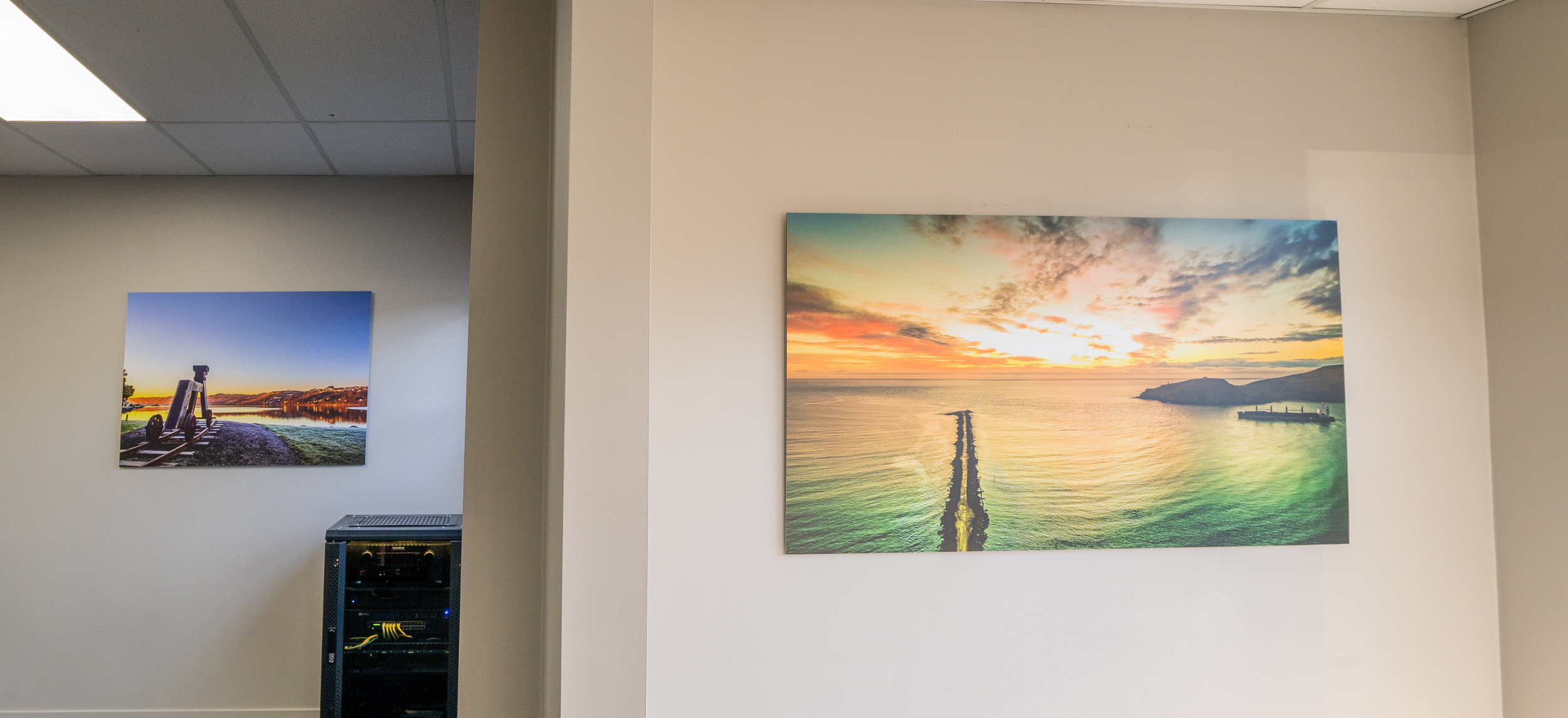 - Ripples in Jade (right) and Kuri Dog photography installations add a little bit of Otago to The Southern Electrical Offices.