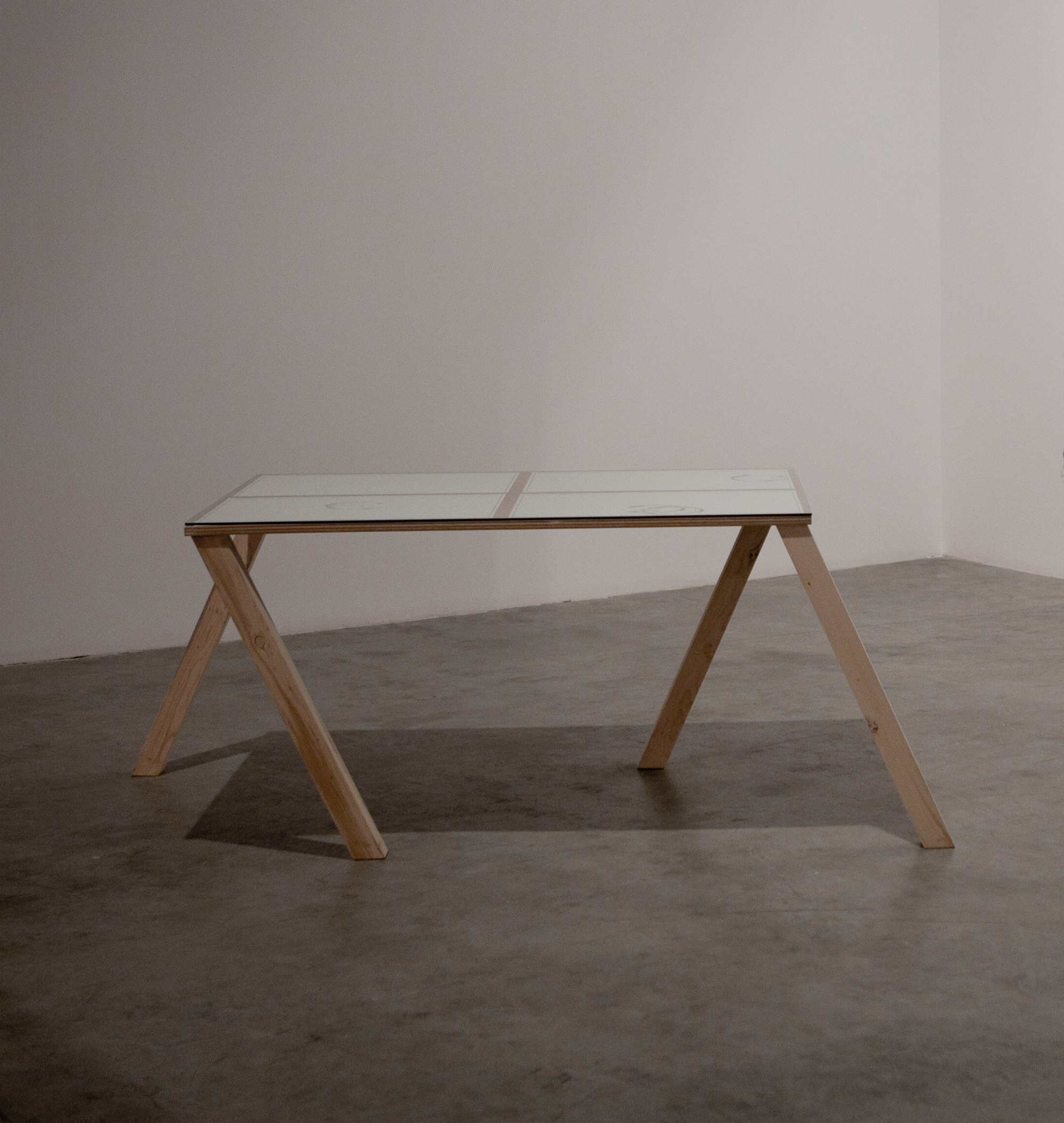 Judith Hopf  Walking Table 2 (in collaboration with Florian Zeyfang) 2012 Table, glass, four drawings Table dimensions: 73.5 x 90 x 192 cm, prints dimensions: 42 x 62 cm (each).