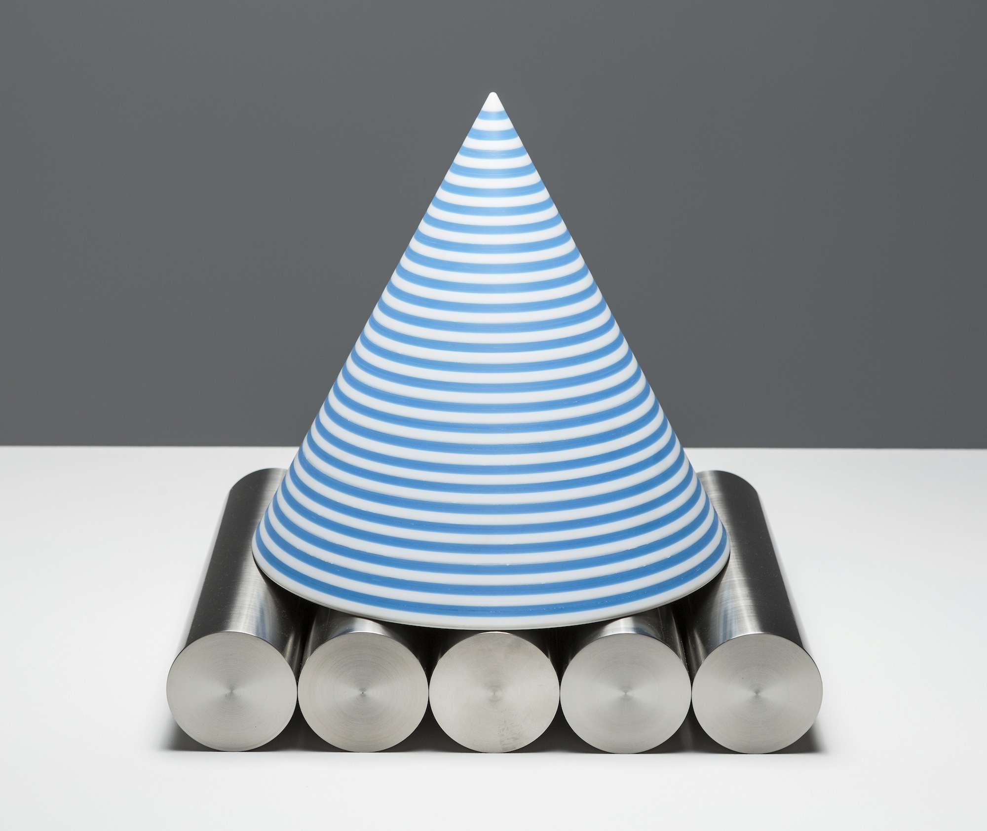 Progress 2014 Perspex and lacquered stainless steel 9 x 40 x 32 cm (assembled sculpture) 32 x 31 cm (cone) and 32 x 8 cm each (5 cylinders)