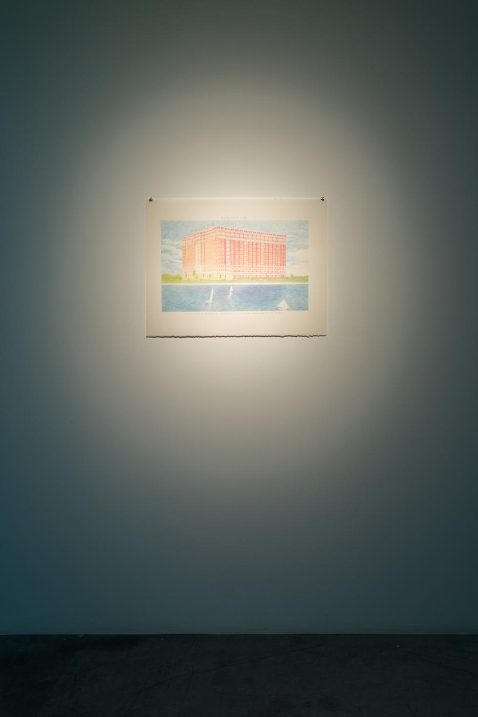 Chicago Beach Hotel 2014 Graphite on paper 23 x 30 cm