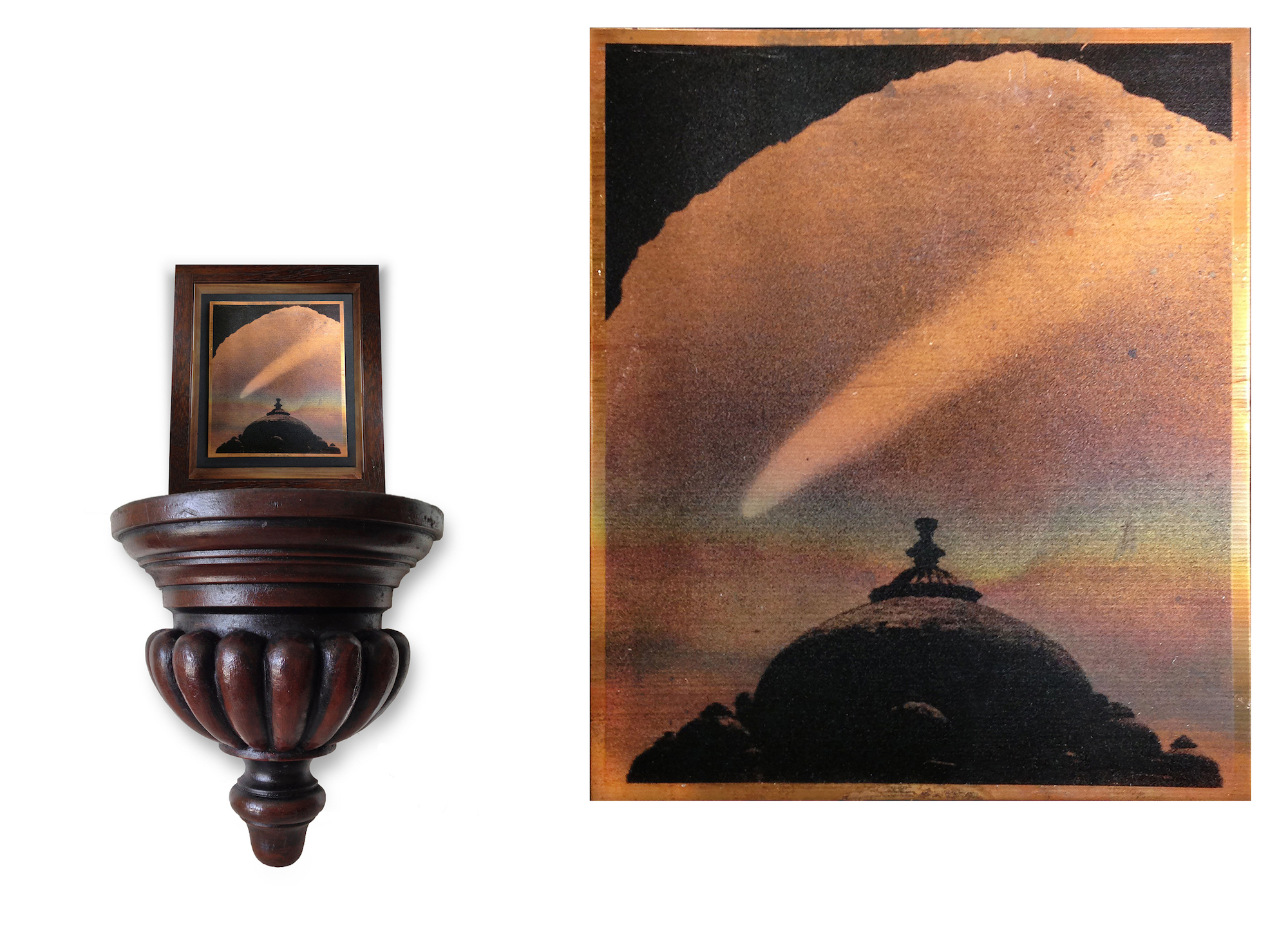 Mehreen Murtaza  Comet Bennet over Delhi, Humayun's Tomb March 1970 2013 Inkjet with primer on annealed copper sheet, 13.65 cm x 15.72 cm x 4.31 cm (framed), 11.43 x 12.7 cm (copper sheet) and 20.32 x 30.48cm (wooden Shelf) Variation 1