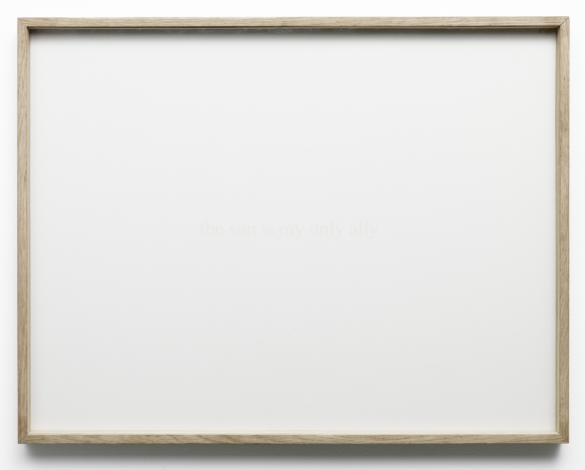 Charbel-joseph H. Boutros  The sun is my only ally 2012 Wooden frame, newspaper print, sun of Beirut 55 x 75 cm
