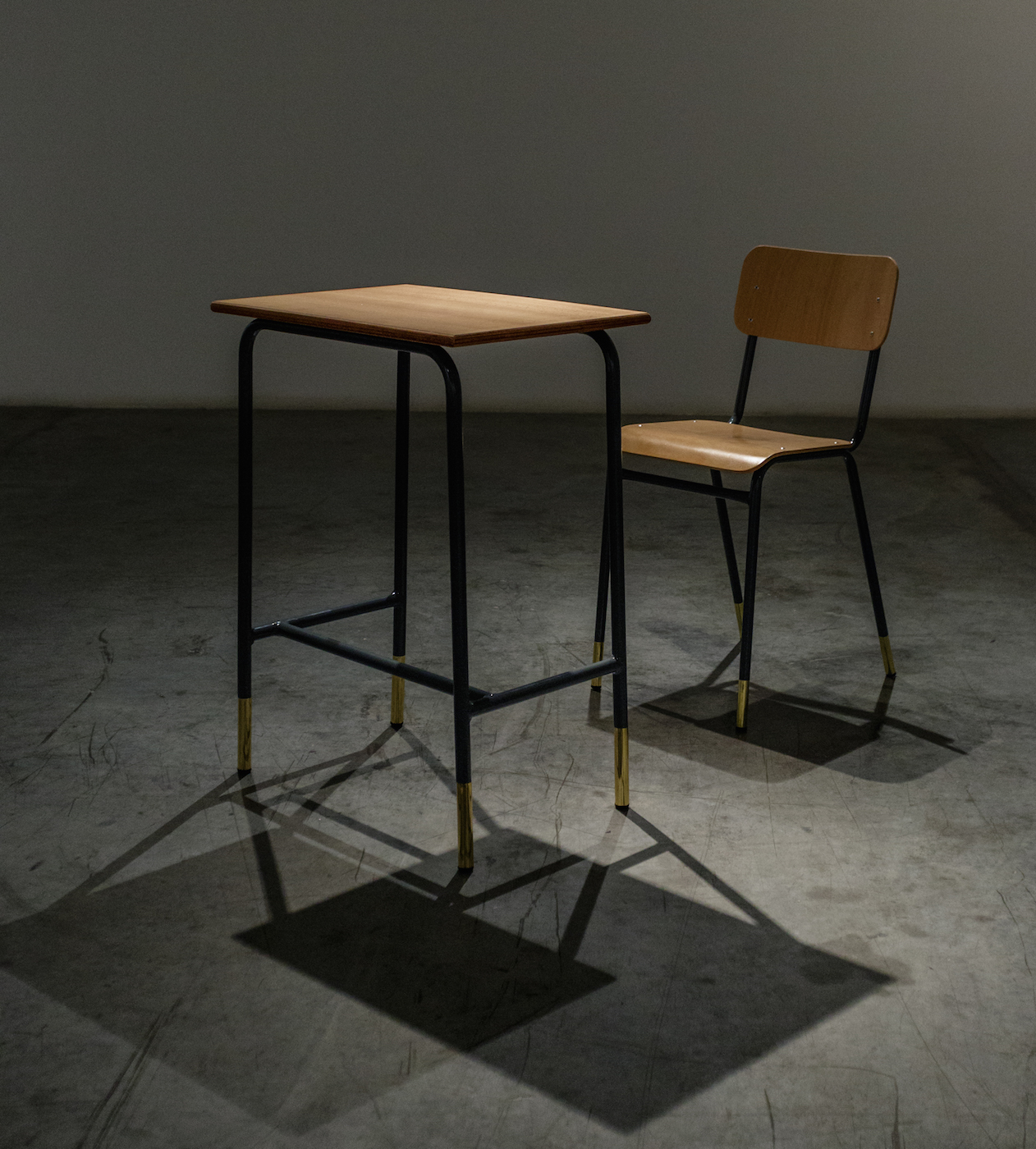 The Shape of Distance 2016 Pupil table and chair, welded brass Table: 77 x 40 x 55 cm, chair: 80 x 45 x 36 cm