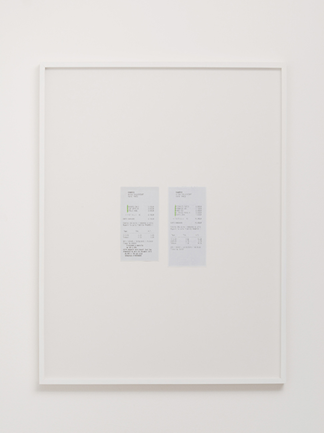 Mon Amour 2012 – 2015 Supermarket receipts, highlighter Dimensions variable   Products purchased in a Parisian supermarket are chosen in a very precise way and disposed at the cash machine accordingly to reveal a secret message: Mon Amour.