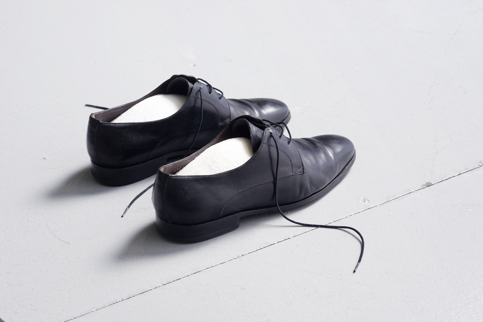 Untitled until now 2016 Artist's shoes, left shoe containing salt, right shoe containing sugar Dimensions variable
