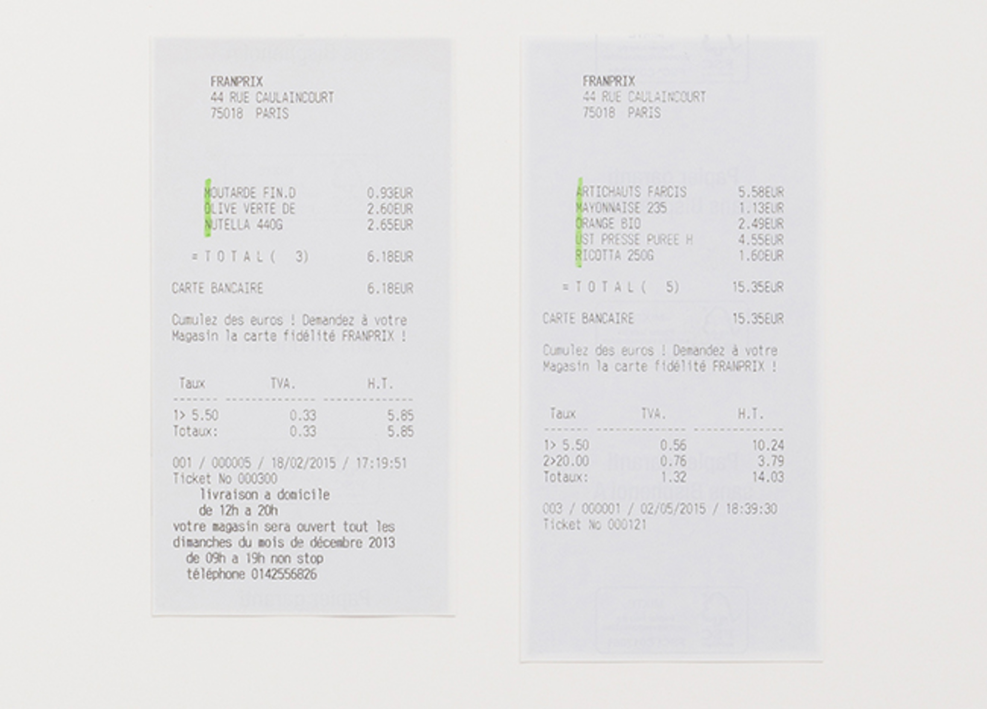 Mon Amour (detail) 2012 – 2015 Supermarket receipts, highlighter Dimensions variable