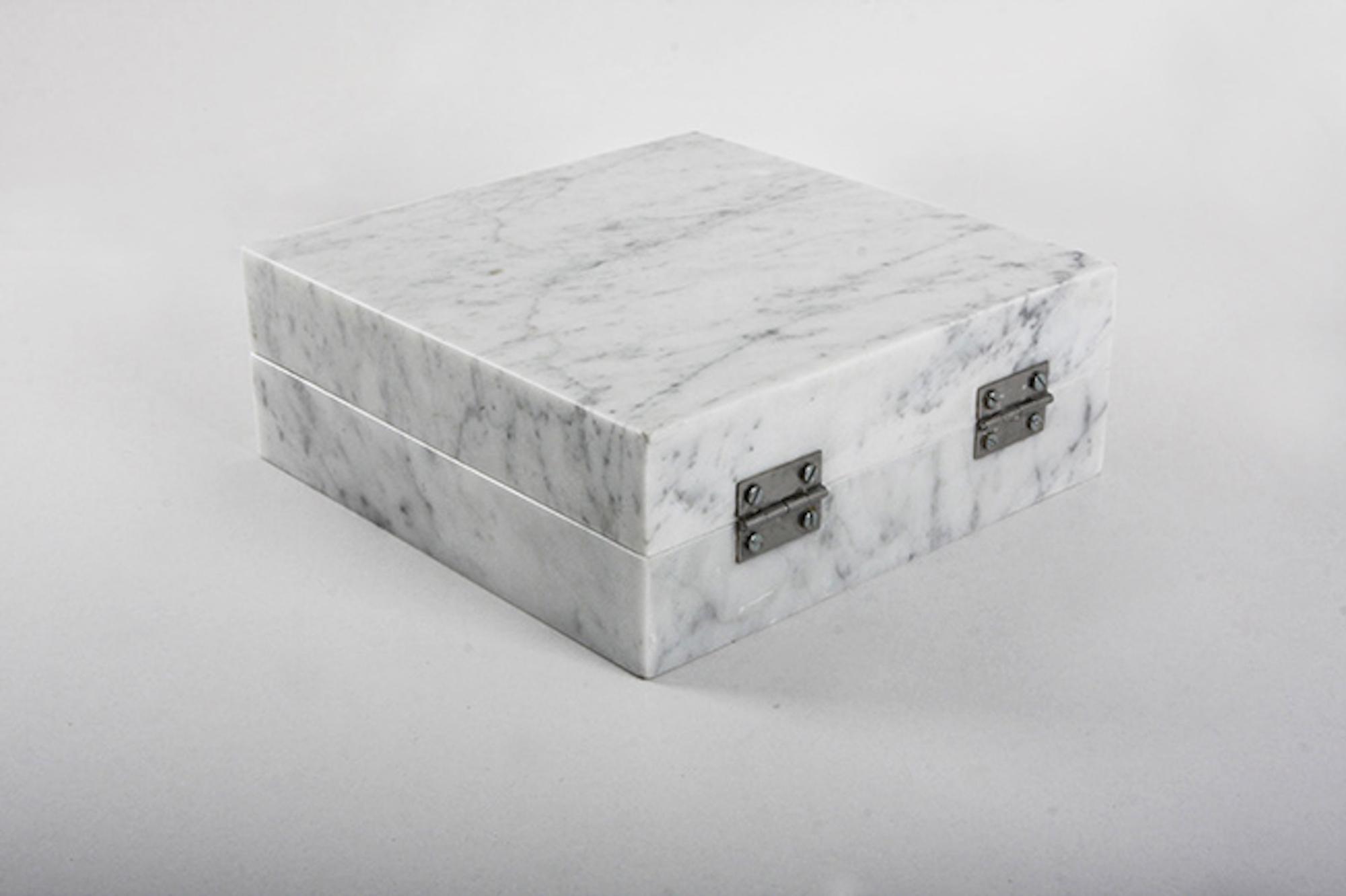 Night Enclosed in Marble (detail) 2012 – 2016 Carrara marble 1cm3 of night of Kadisha valley Lebanon, hinges 23 x 23 x 9 cm